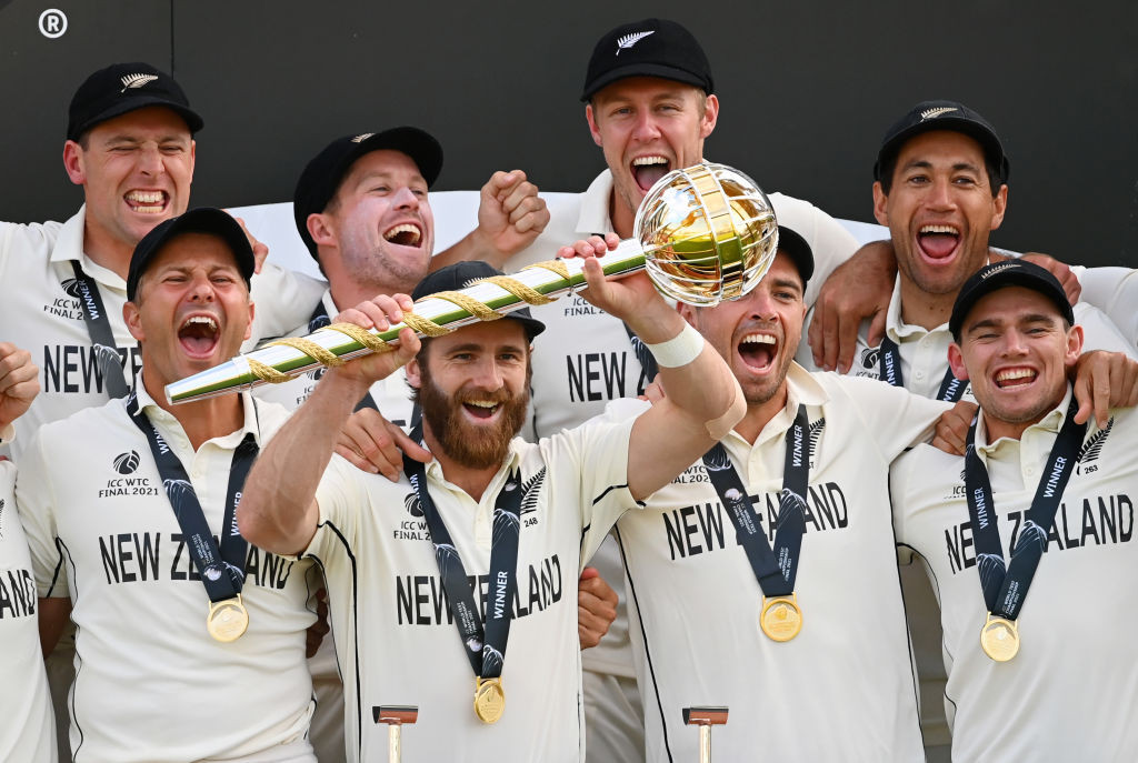 Kane Williamson of New Zealand lifts the ICC World Test Championship mace after his side's victory over India at Southampton today ©Getty Images