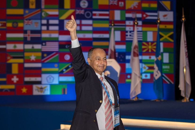 Husain Al-Musallam, seen here celebrating his election as FINA President earlier this month, has established a Reform Committee to assess a number of issues ©FINA