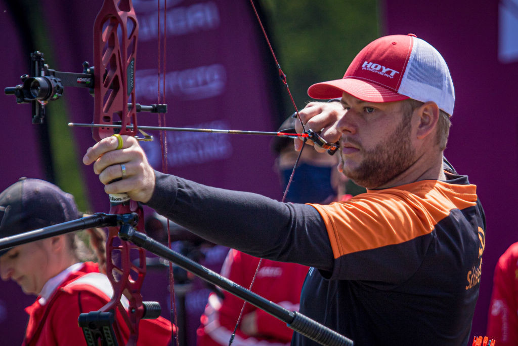Mike Schloesser of The Netherlands will seek a second Archery World Cup compound gold of the season in Paris on Saturday ©Getty Images