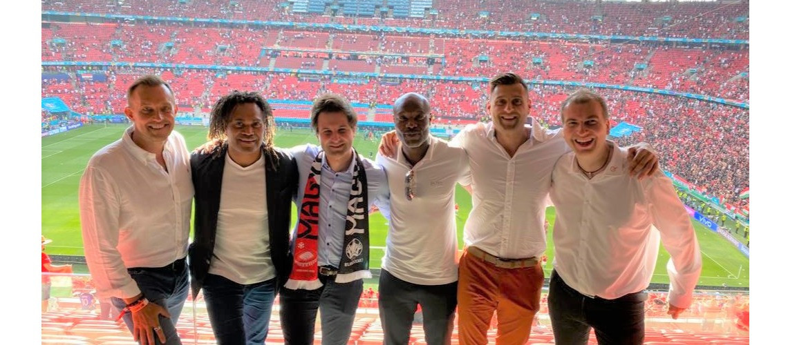 Teqball ambassadors Karembeu and Gallas join co-founders to watch Hungary v France in Euro 2020