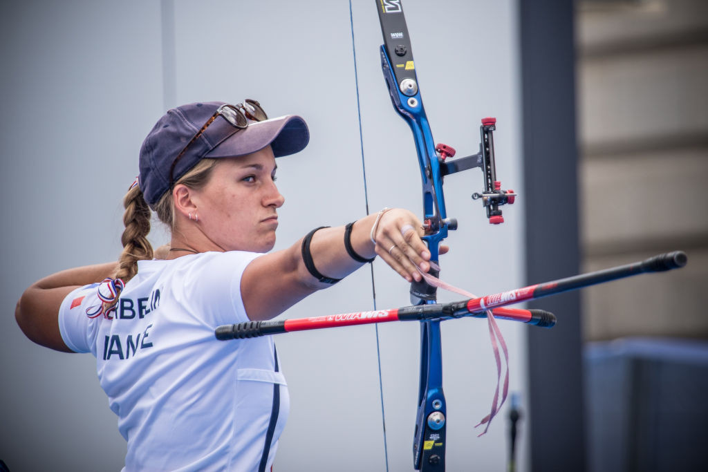 Home archer Lisa Barbelin helped the French women earn recurve team bronze at the Archery World Cup in Paris ©Getty Images