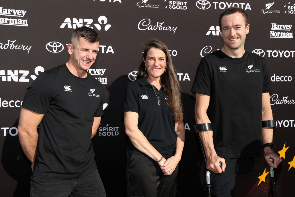 New Zealand's newly selected Tokyo 2020 Para-canoeists Corbin Hart, left, and Scott Martlew pictured with Lynette Grace of Paralympics New Zealand ©Getty Images