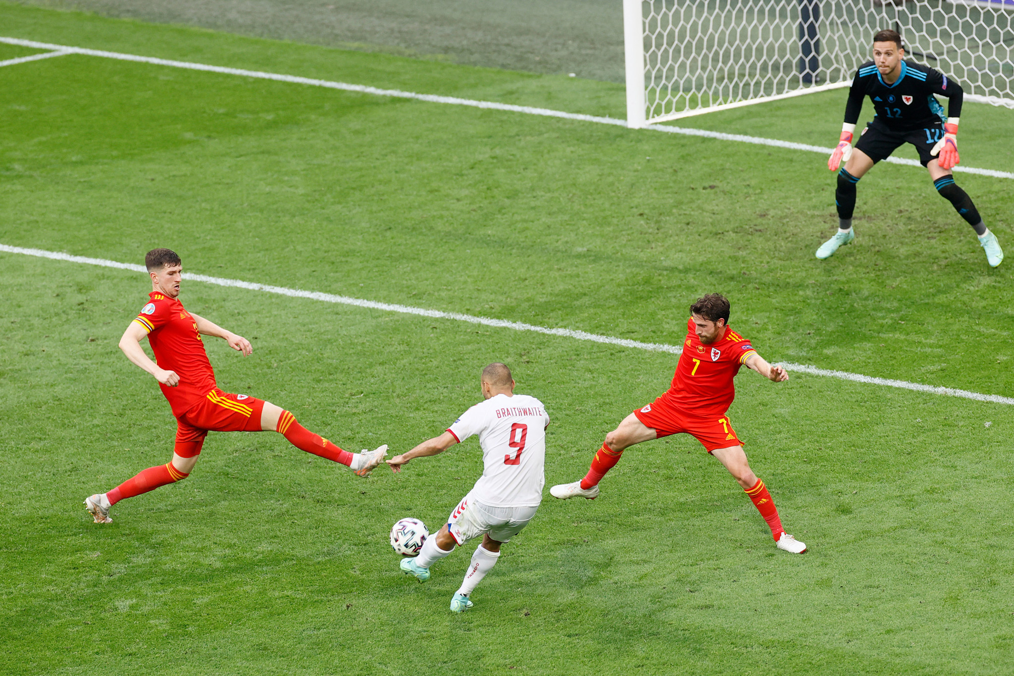 Martin Braithwaite's goal in stoppage time sealed a convincing 4-0 win for Denmark over Wales ©Getty Images