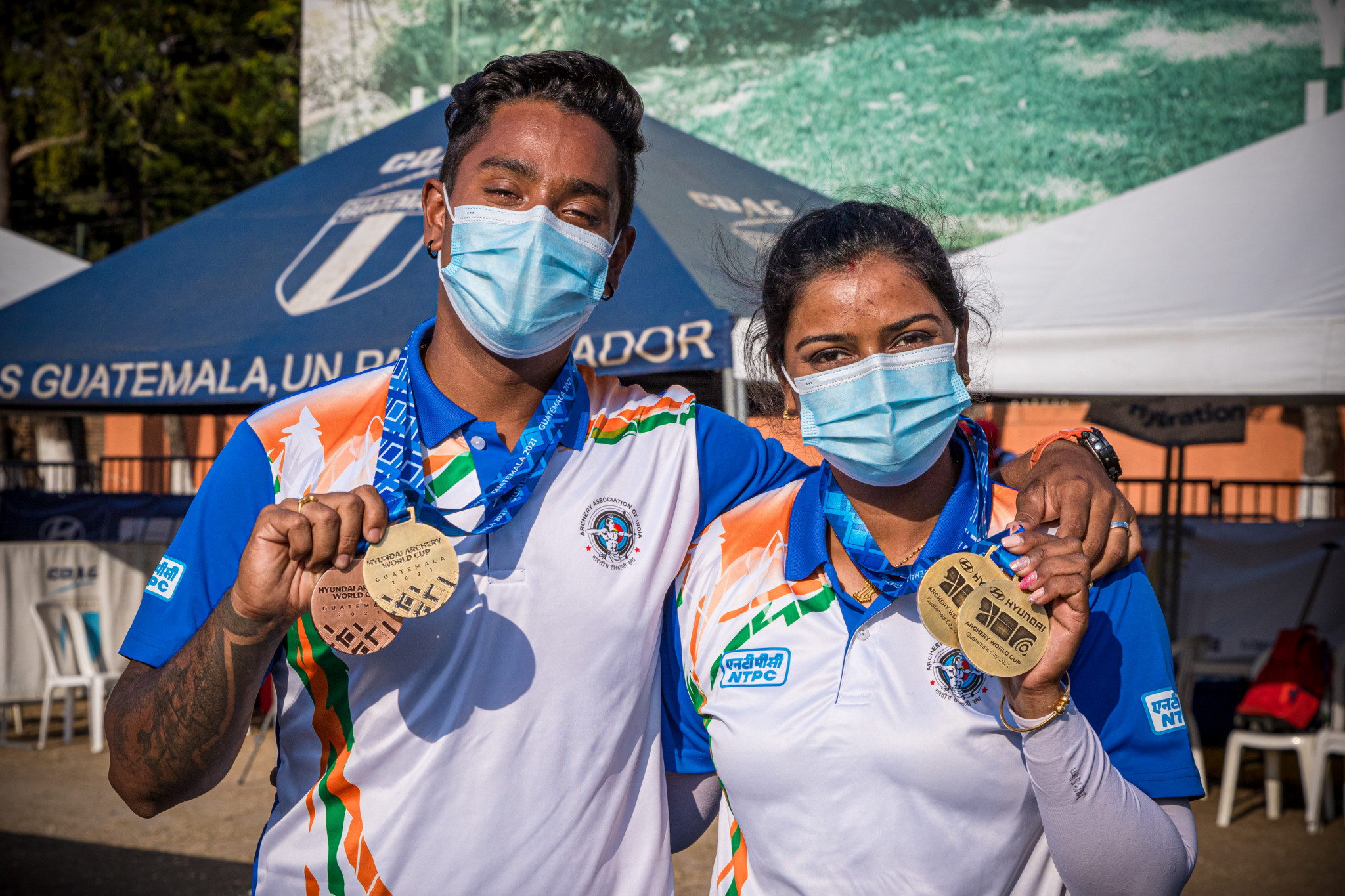 Deepika Kumari teamed up with husband Atanu Das to win their first mixed title together ©Getty Images