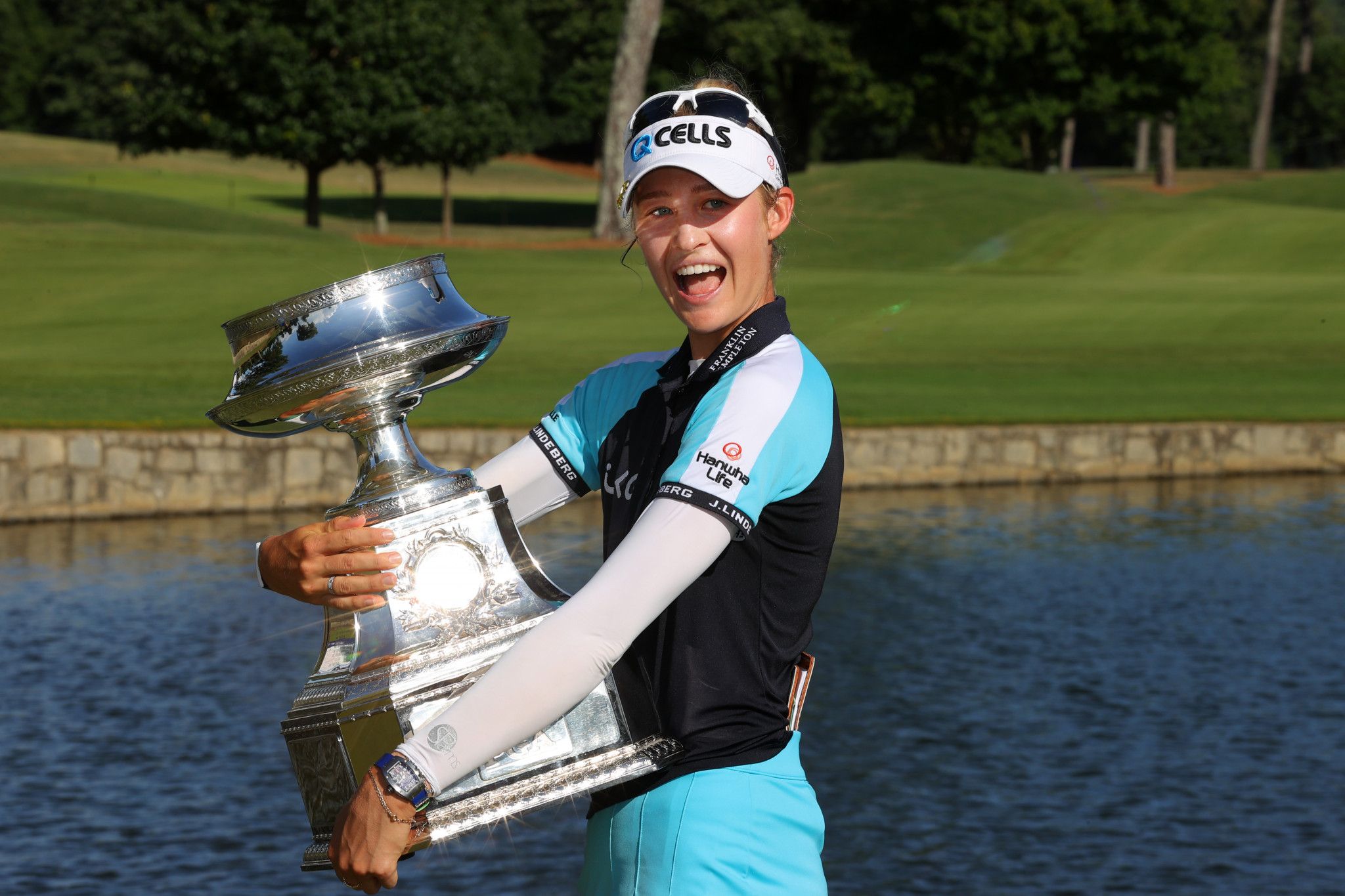 The United States' Nelly Korda became world number one for the first time after claiming her maiden major title at the Atlanta Athletic Club ©Getty Images