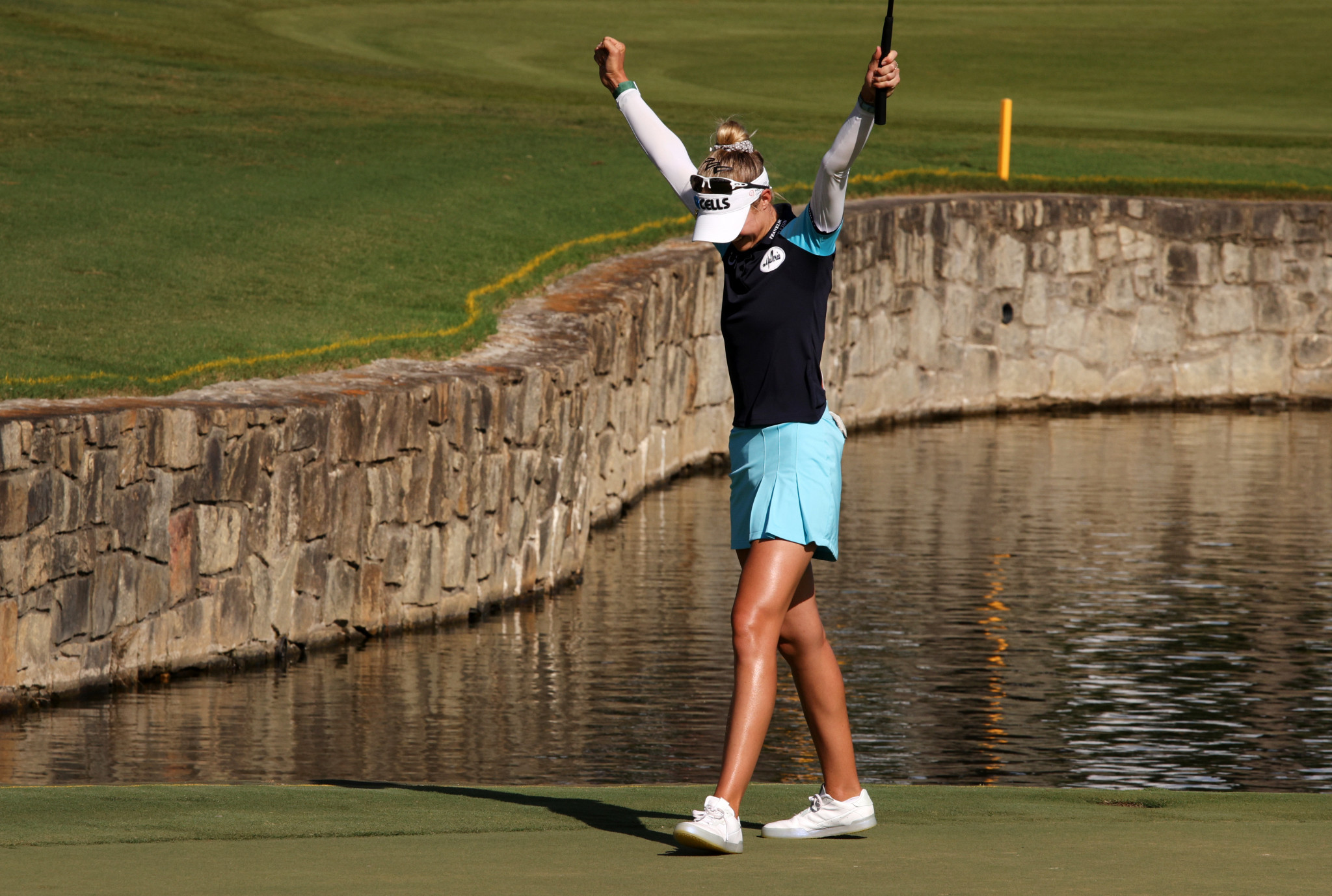 Nelly Korda celebrates after clinching victory with a par on the 18th hole ©Getty Images