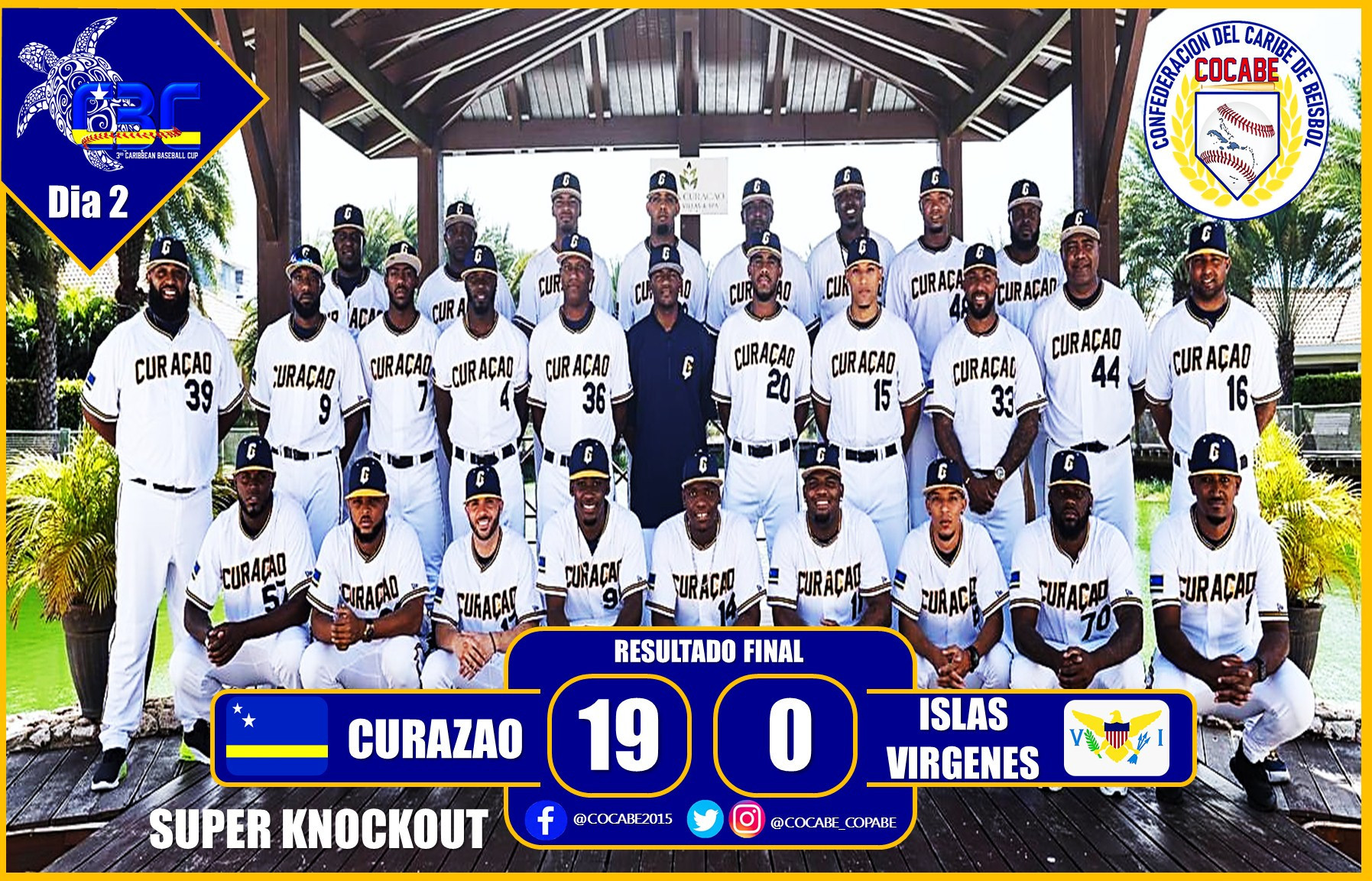 Curacao thrashed the US Virgin Islands on day two of the Caribbean Baseball Cup ©COCABE
