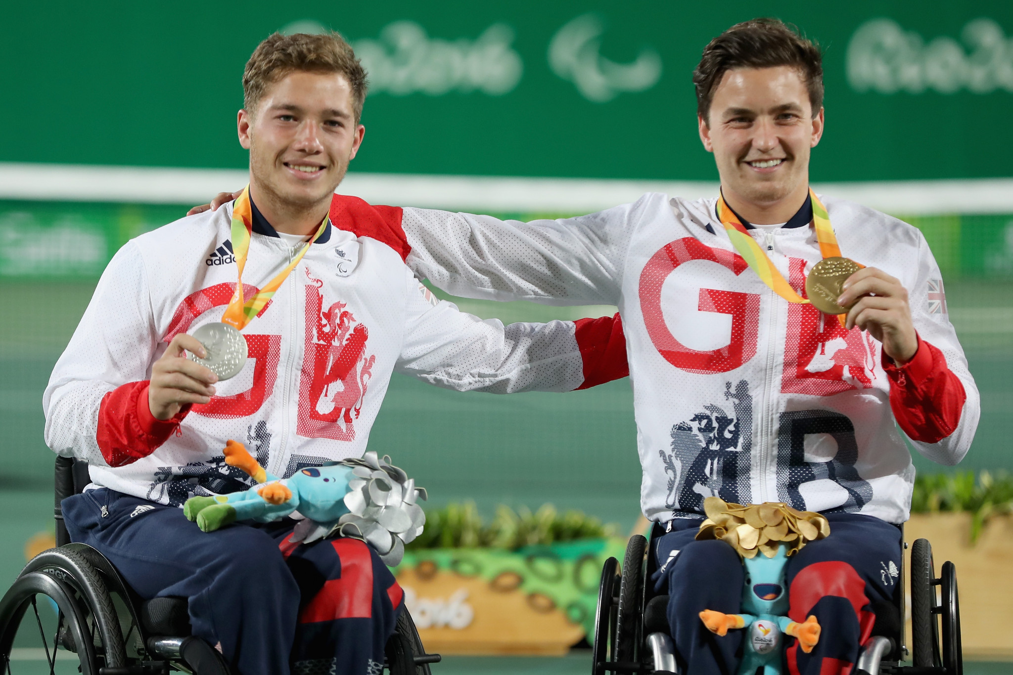 Gordon Reid, right, beat Alfie Hewett to win men's singles gold at Rio 2016 ©Getty Images