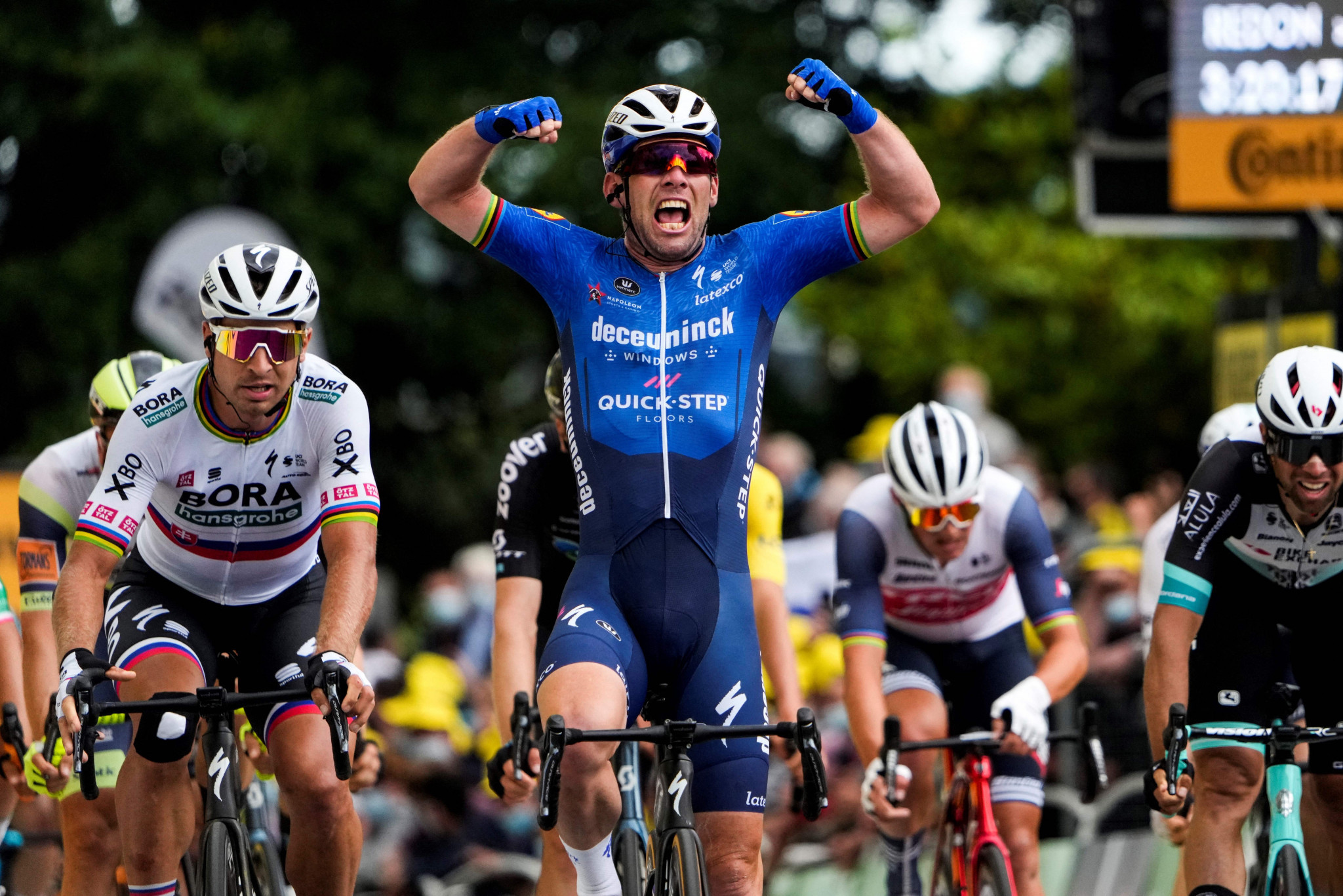 Emotional Cavendish wins first stage at Tour de France in five years