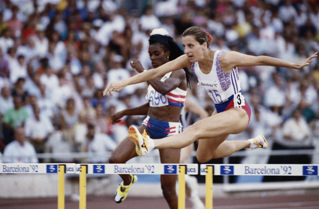 Sally Gunnell en route to Olympic 400m hurdles gold at the 1992 Barcelona Games - one British paper flagged her win with a joke about