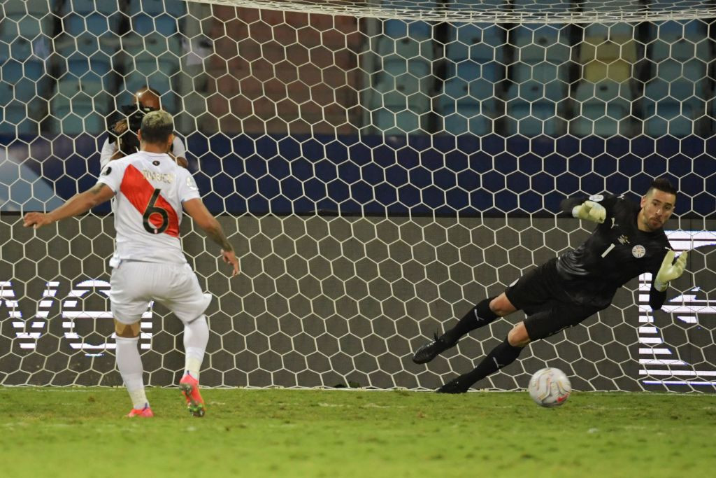 Miguel Trauco scored the decisive penalty to send Peru through at the expense of Paraguay ©Getty Images
