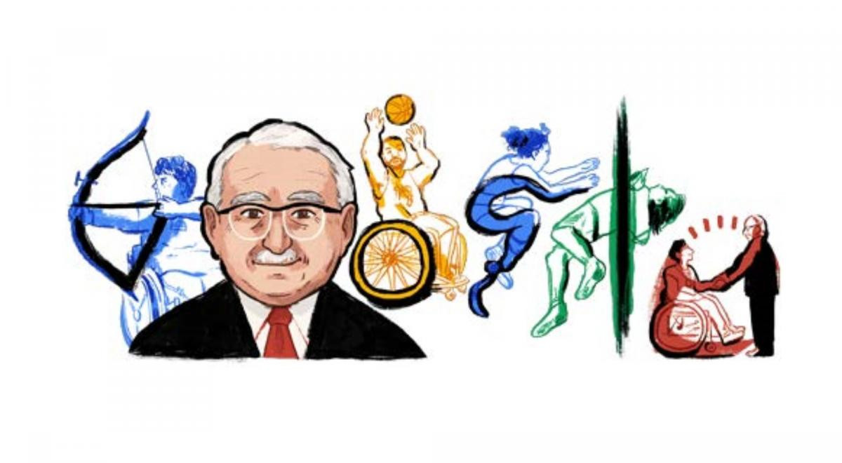 Sir Ludwig Guttman, founder of the Paralympic Movement, is featured by Google in a doodle on what would have been is 122nd birthday ©Google