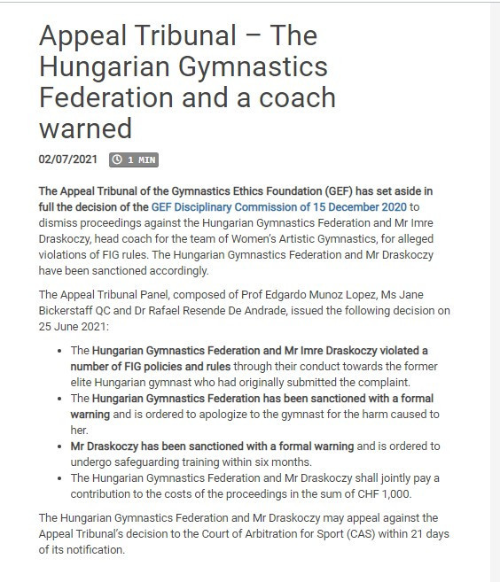 The Appeal of Tribunal of the Gymnastics Ethics Foundation's decision ©FIG