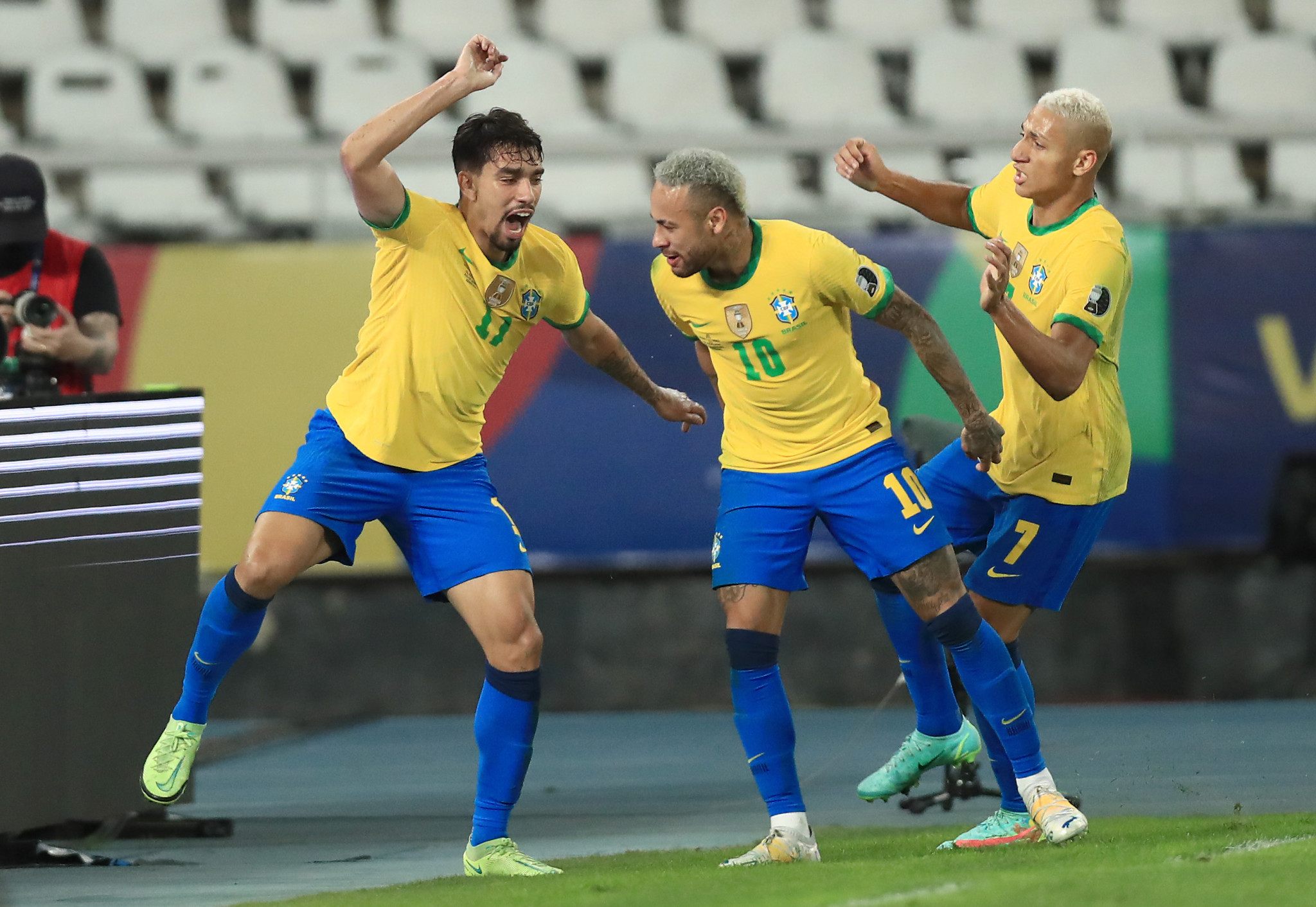Brazil's Lucas Paquetá celebrates after scoring what proved to be the winner against Peru ©Getty Images