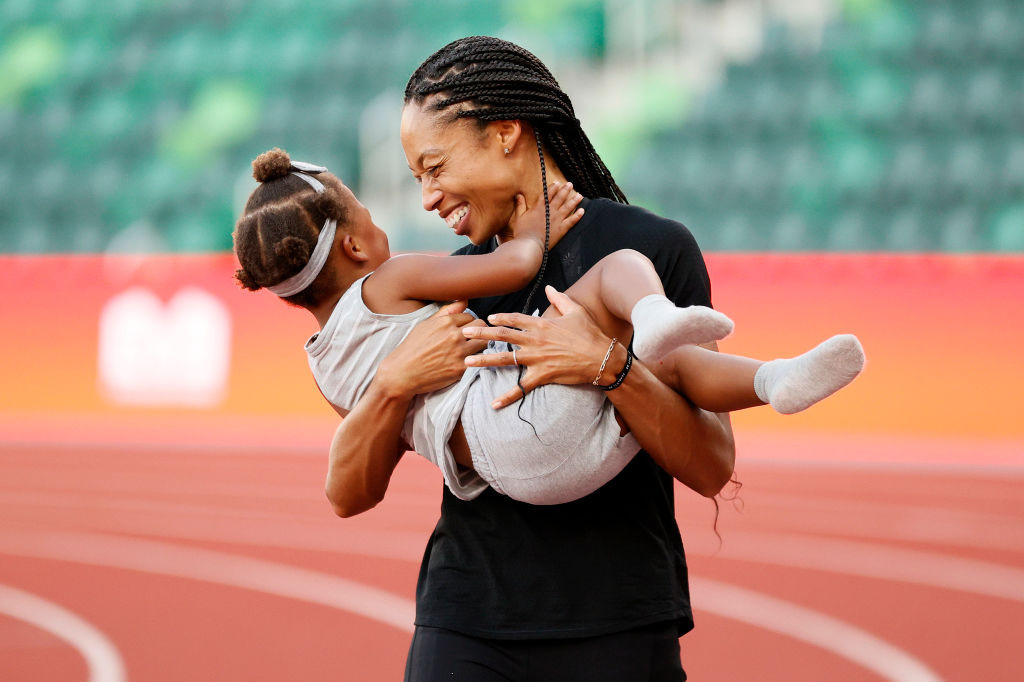 Multiple world and Olympic champion Allyson Felix, 35, pictured with her daughter Camryn, will contest her fifth Games in Tokyo ©Getty Images