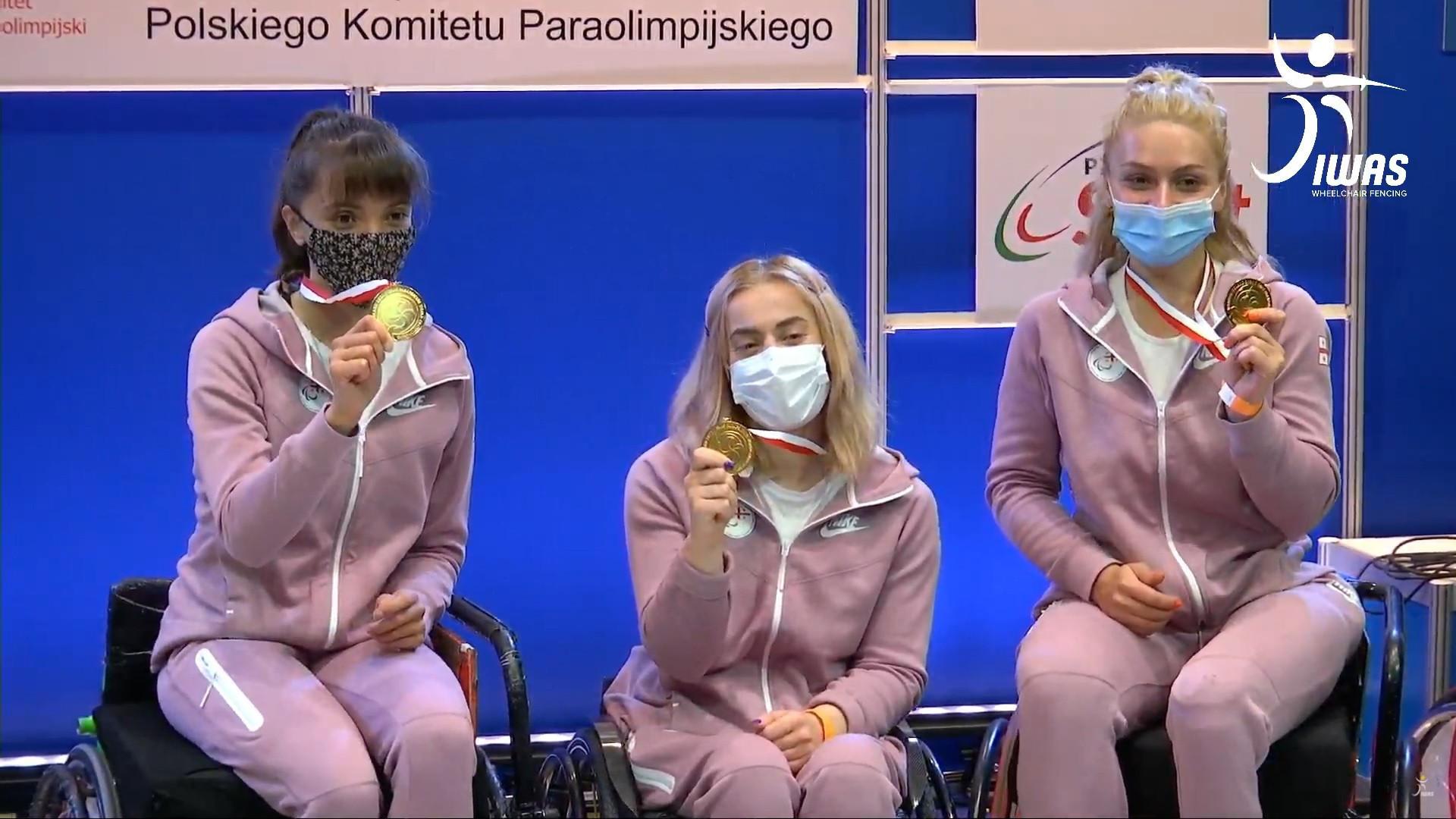 Georgia's Gvantsa Zadishvili, Nino Tibiashvili and Irma Khetsuriani, women's world team sabre title gold medallists, will be in action at the IWAS Wheelchair Fencing World Cup starting in Warsaw tomorrow ©IWAS