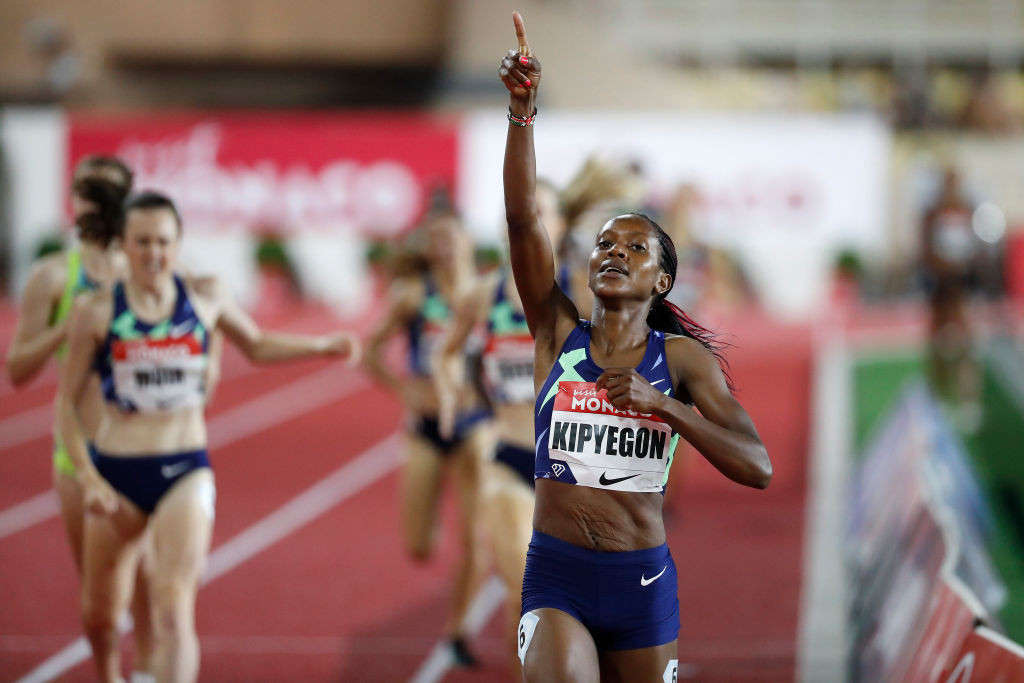 Kipyegon smashes her Kenyan 1500m record to beat Hassan in Monaco and lay down Tokyo 2020 marker