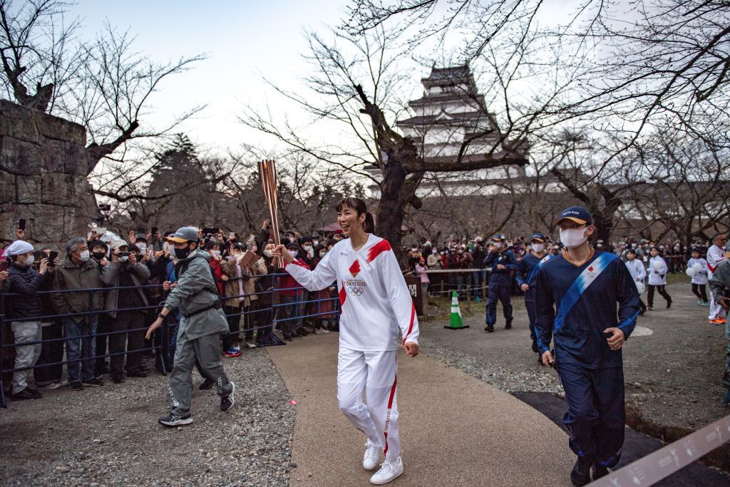 Fukushima staged the start of the Olympic Torch Relay in March ©Getty Images