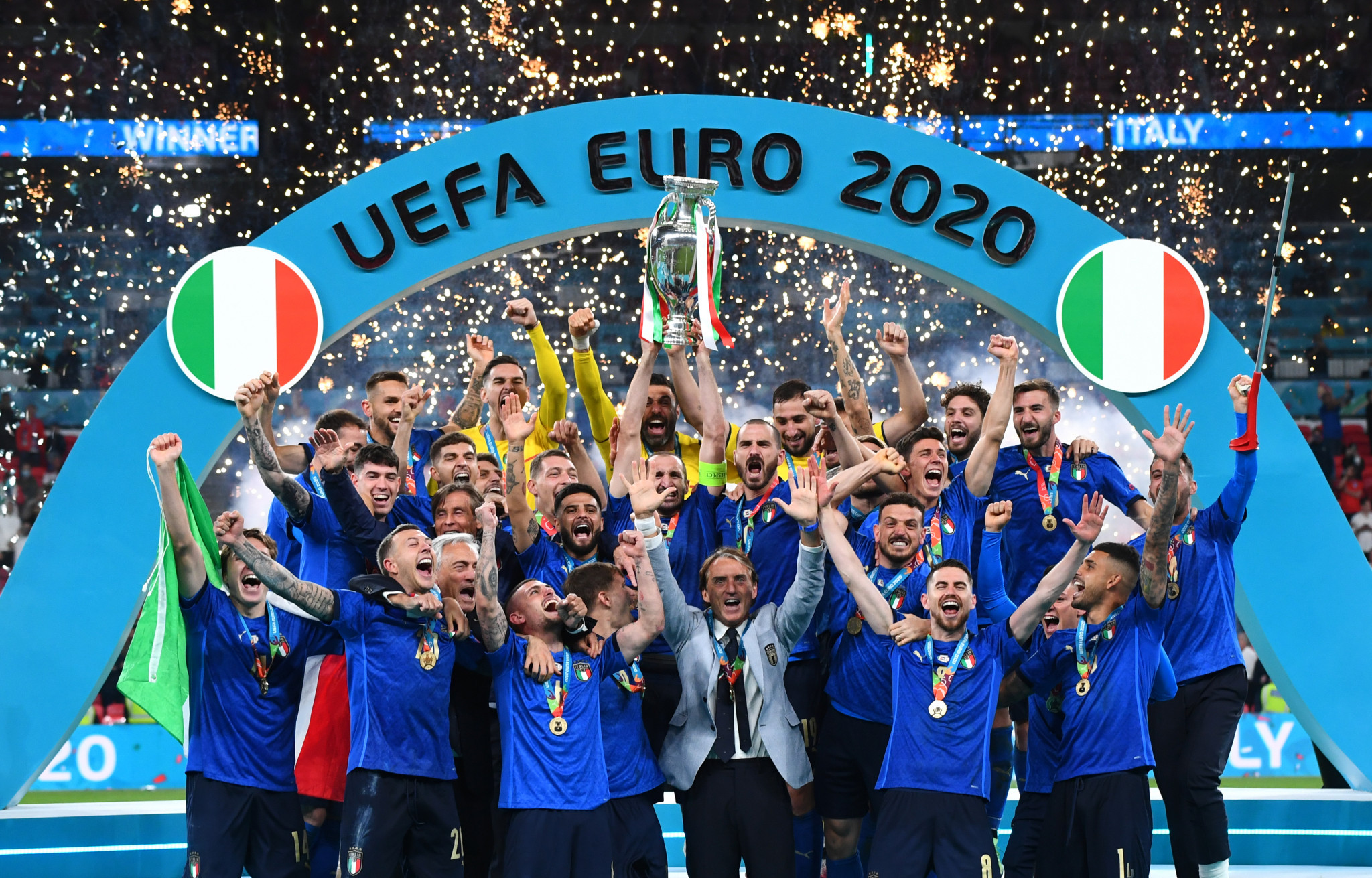 Italy celebrate winning UEFA Euro 2020 on penalties after the match against England had finished 1-1 after extra time ©Getty Images