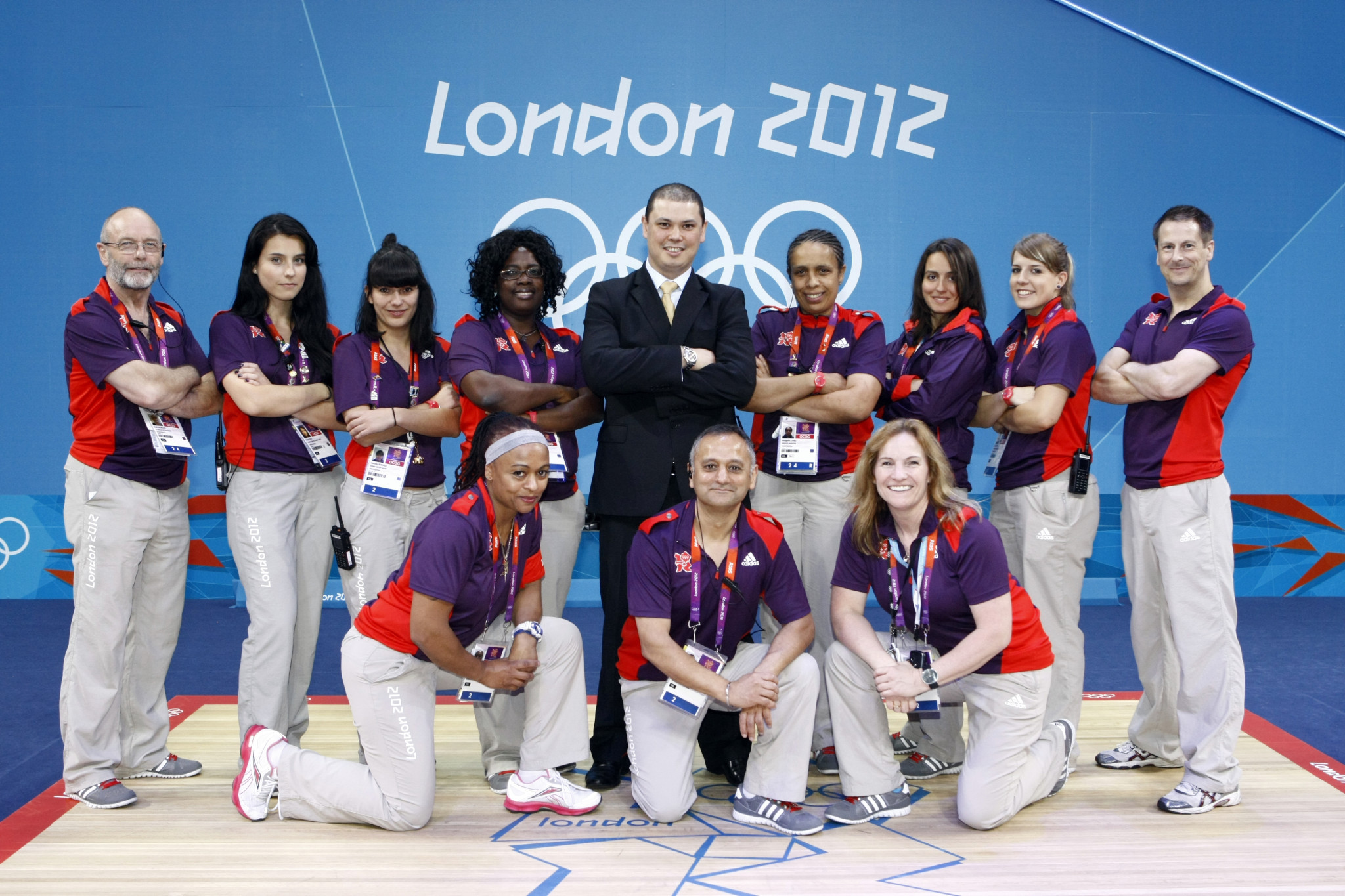 Matthew Curtain, centre back row, and the weightlifting team at London 2012 ©Matthew Curtain