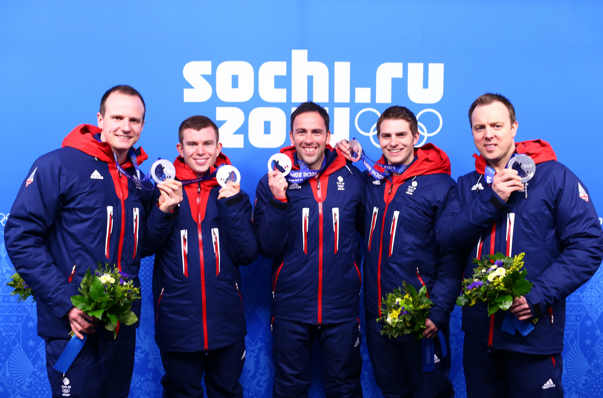 Michael Goodfellow, far left, won a silver medal at Sochi 2014 in the British men's team skipped by David Murdoch, centre ©Getty Images