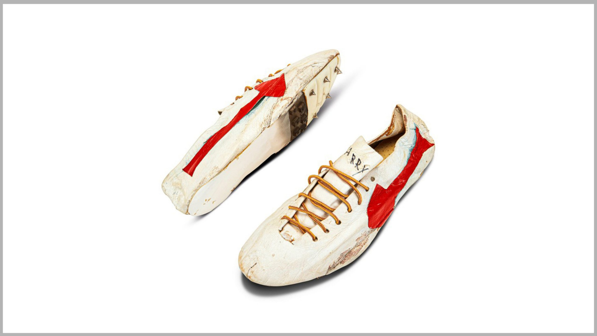 The spikes made for Canadian sprinter Harry Jerome featured an early design of the famous waffle soles pioneered by Nike ©Sotheby's