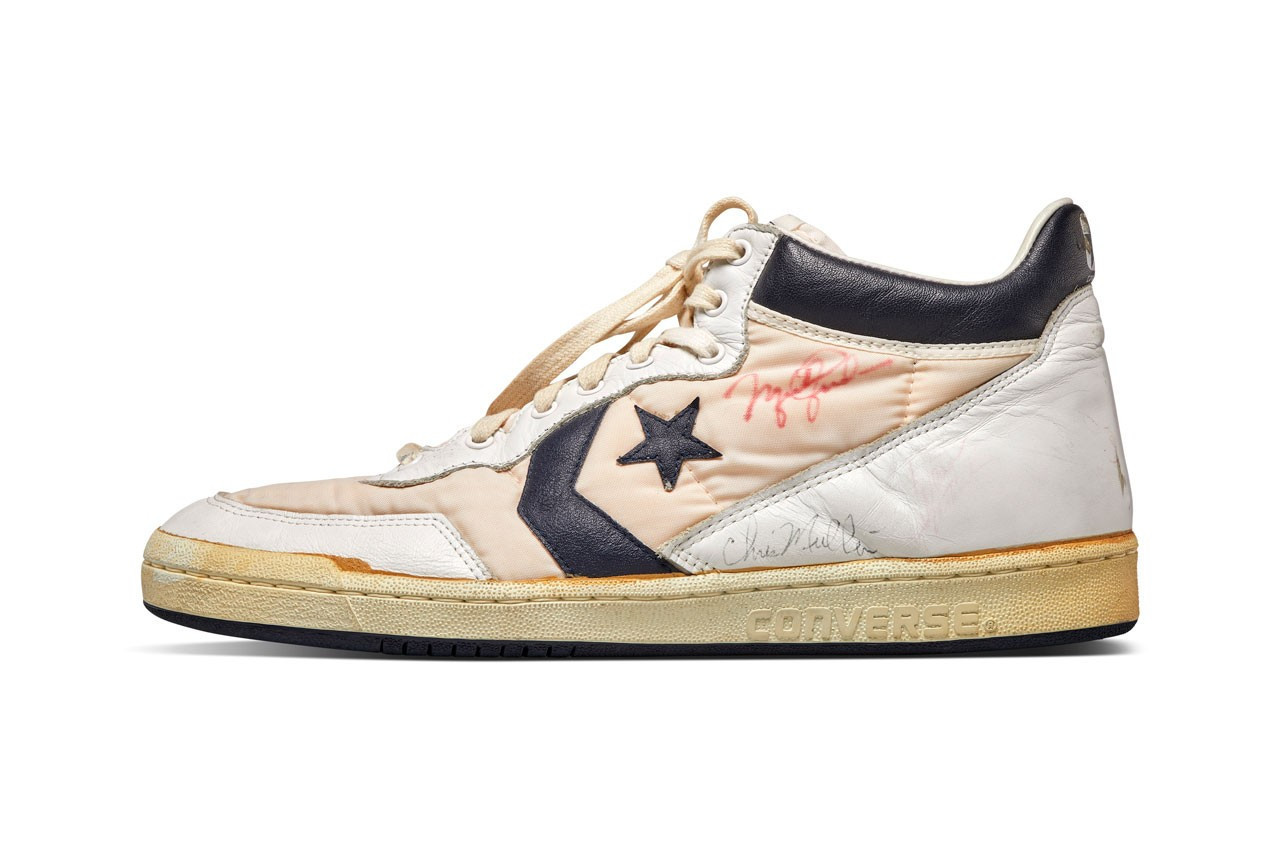A pair of Converse shoes worn by Michael Jordan during trials for the United States Olympic basketball team at Los Angeles 1984 is another highlight of the Sotheby's sale ©Sotheby's