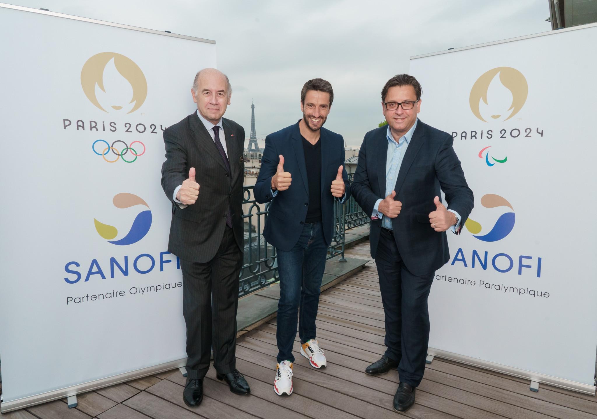 Paris 2024 President Tony Estanguet, centre, welcomed Sanofi to the highest level of the Organising Committee's sponsorship scheme ©Paris 2024