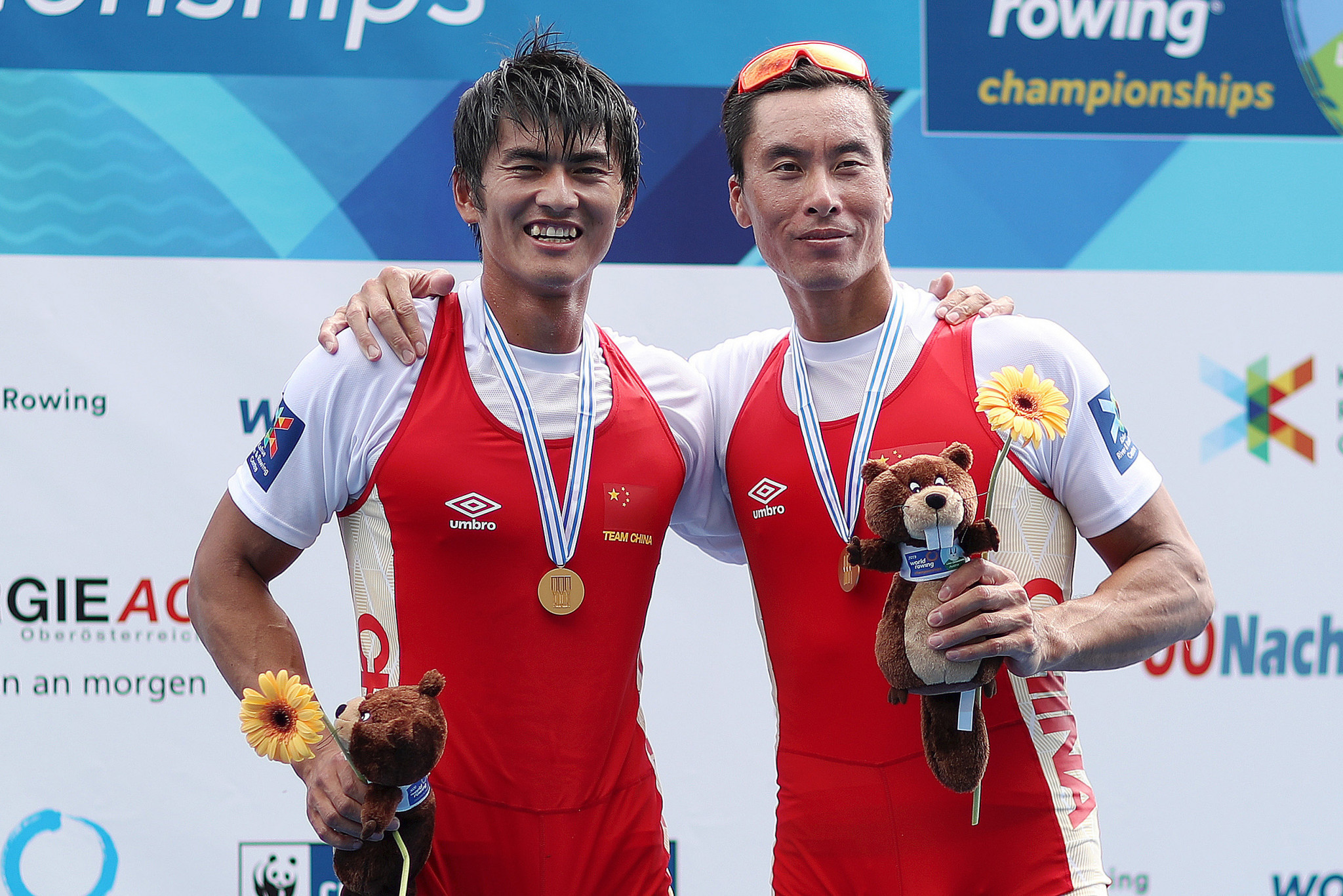 China's Zhiyu Liu and Liang Zhang celebrate winning the gold medal in the men's double sculls final at the 2019 World Rowing Championships in Ottensheim - the last time the event took place ©Getty Images