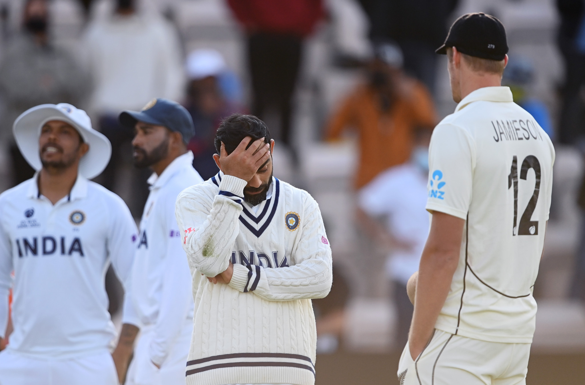 Virat Kolhi reacts during India's defeat by New Zealand in the World Test Championship Final on June 23 ©Getty Images