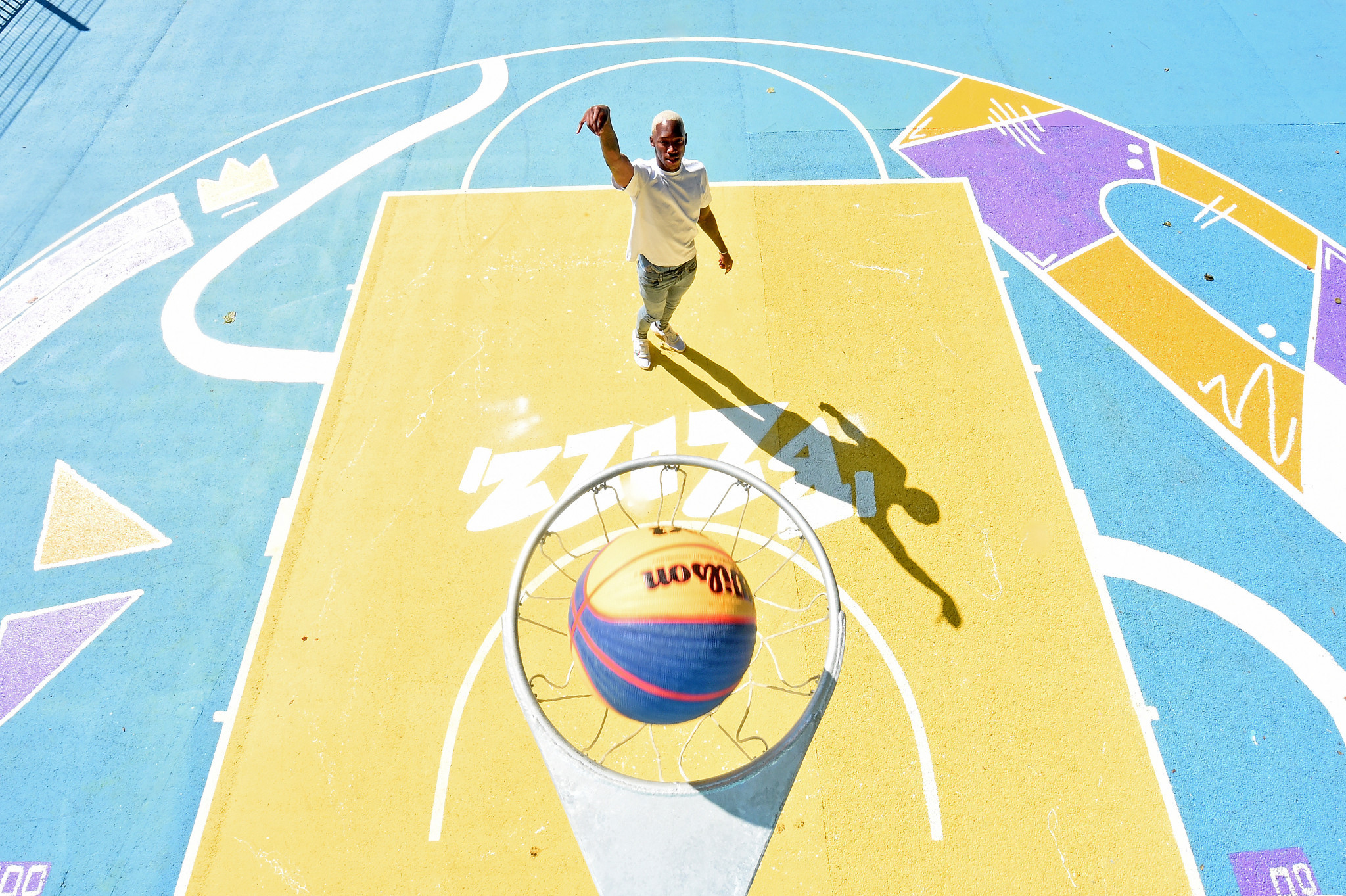 Kofi Josephs unveiled the transformed basketball court in Summerfield Park to commemorate the ticket ballot for local residents for Birmingham 2022 opening ©Getty Images