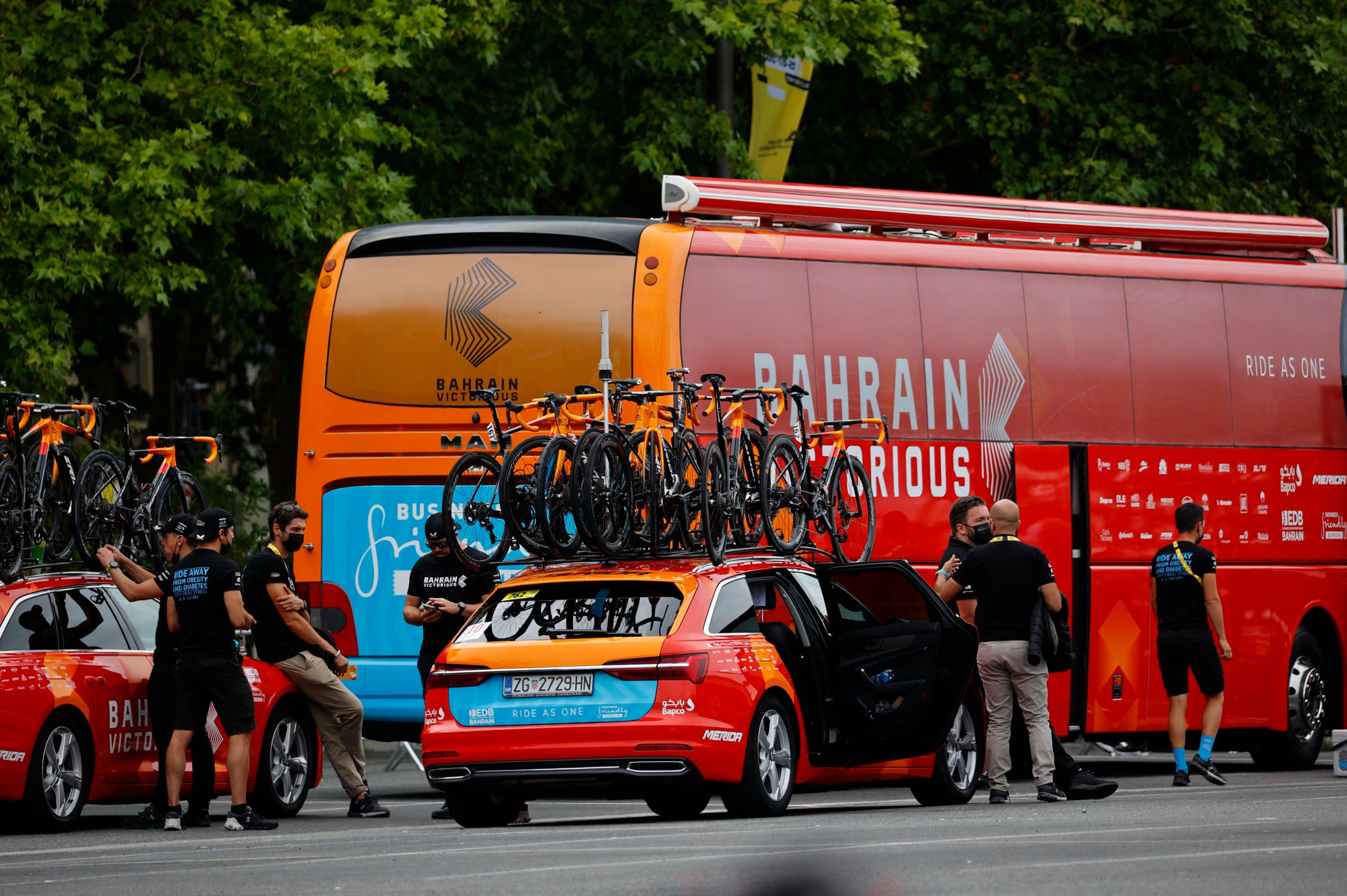 Bahrain Victorious hotel searched by police at Tour de France in doping investigation
