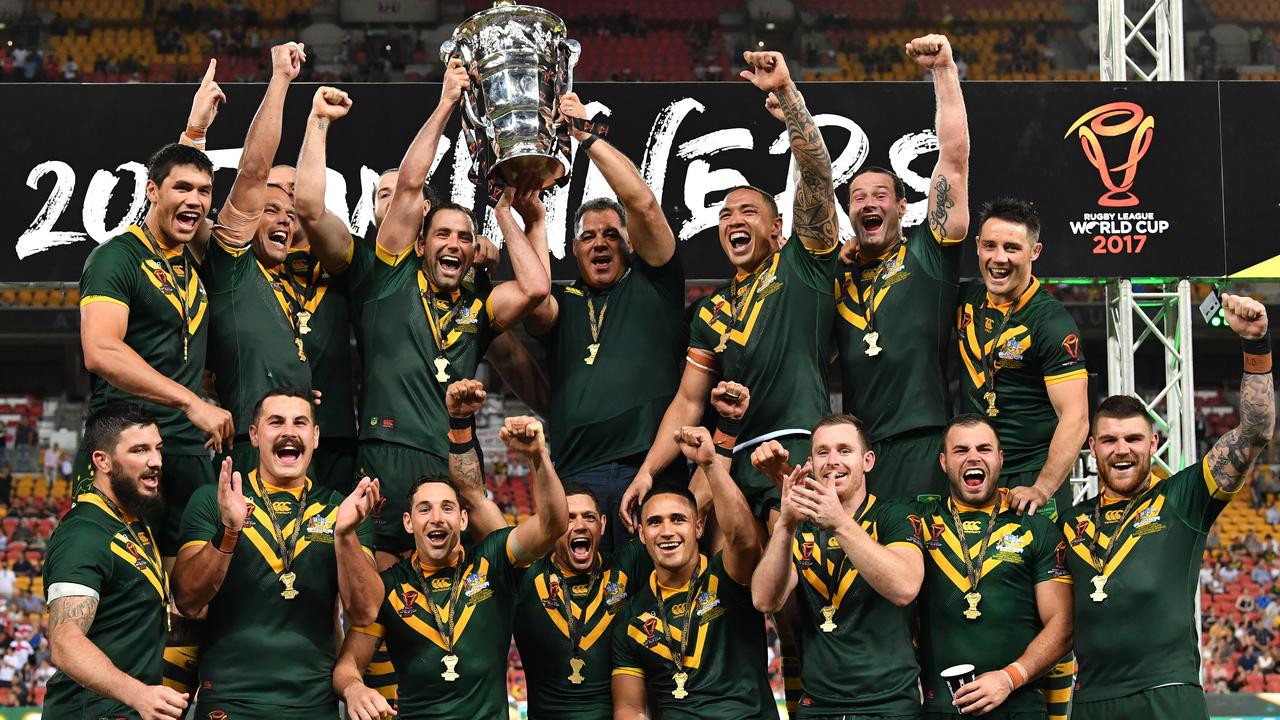 Australia celebrate winning the 2017 Rugby League World Cup after beating England 6-0 in the final in Brisbane ©Getty Images