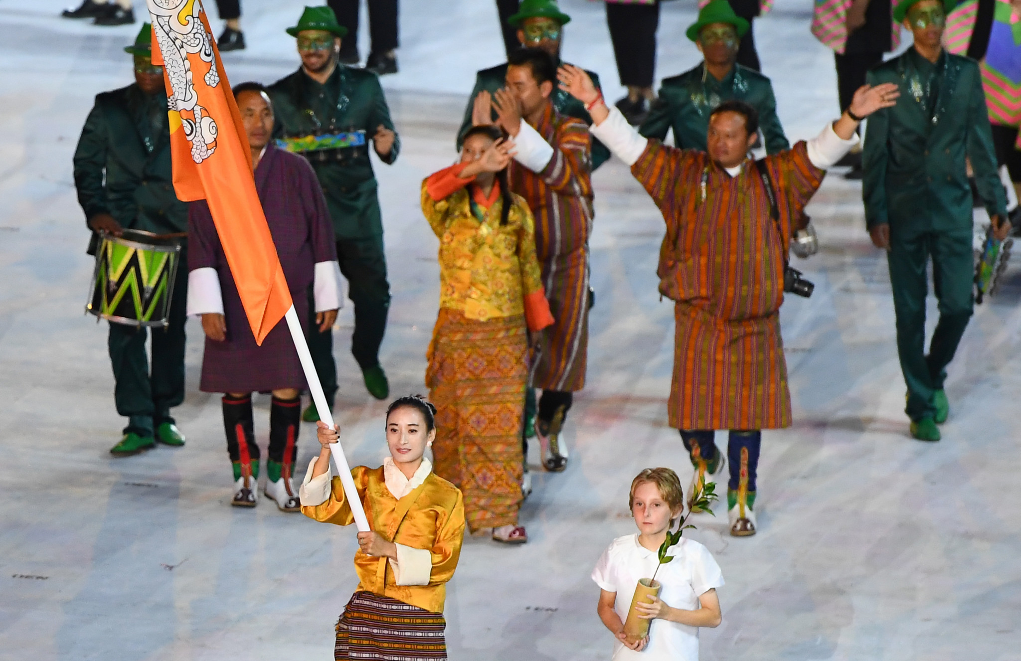 Karma carried Bhutan's flag in the Rio 2016 Opening Ceremony  ©Getty Images