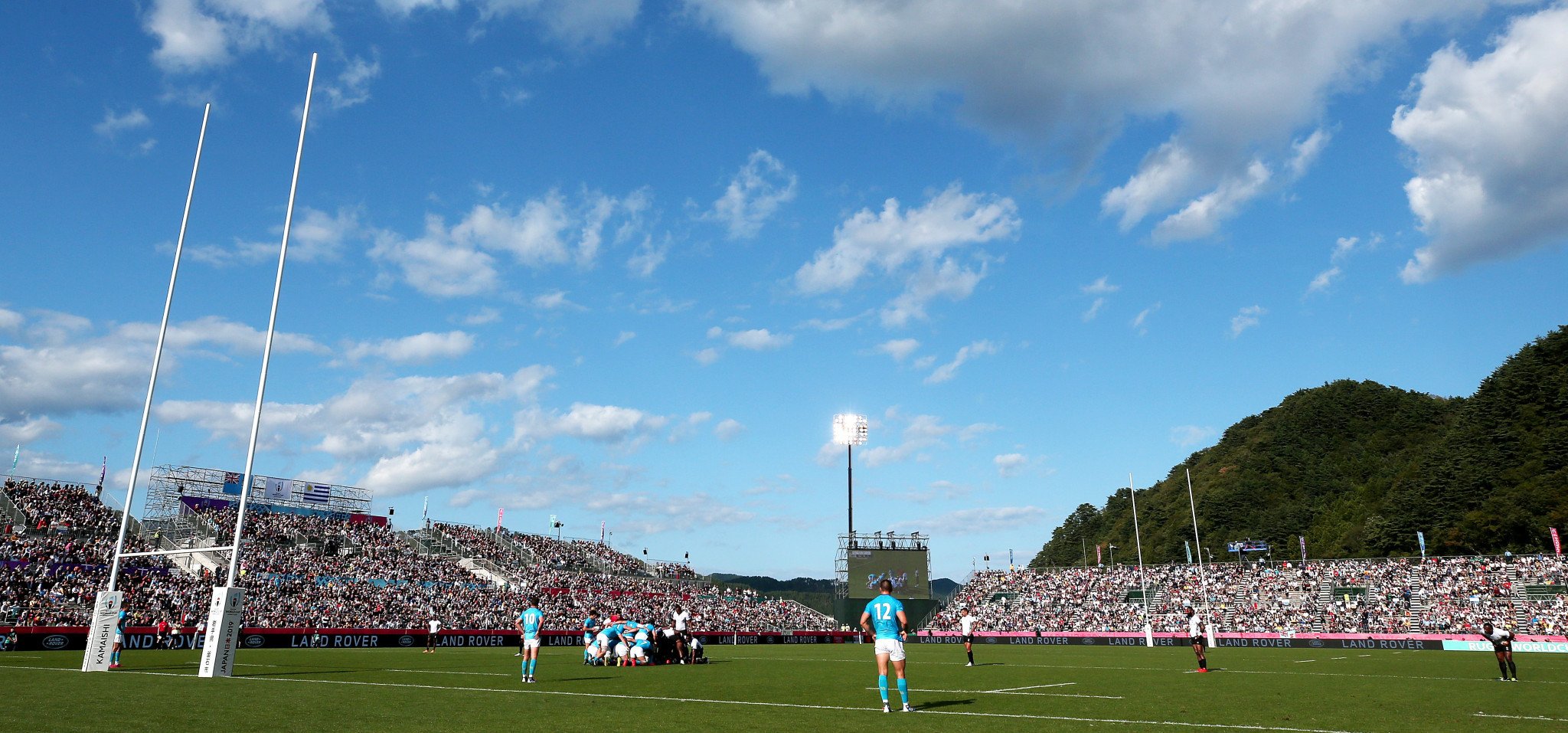 Uruguay beat Fiji in a Rugby World Cup match at Kamaishi Recovery Memorial Stadium in 2019 ©Getty Images