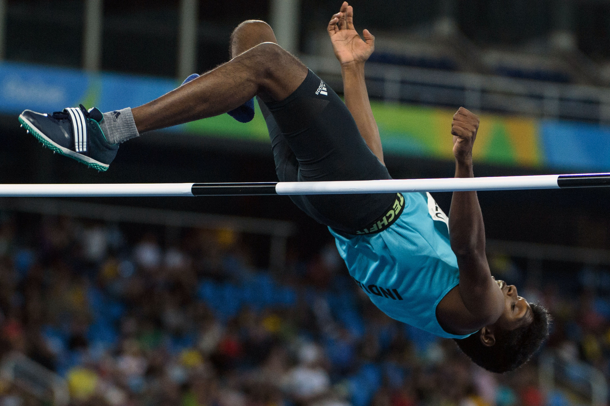 India's Mariyappan Thangavelu won the men's high jump T42 Paralympic Games gold medal at Rio 2016 ©Getty Images