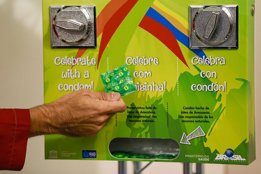 A condom machine at the Rio 2016 Olympics. The messaging is altered for the Tokyo 2020 Olympics ©Getty Images
