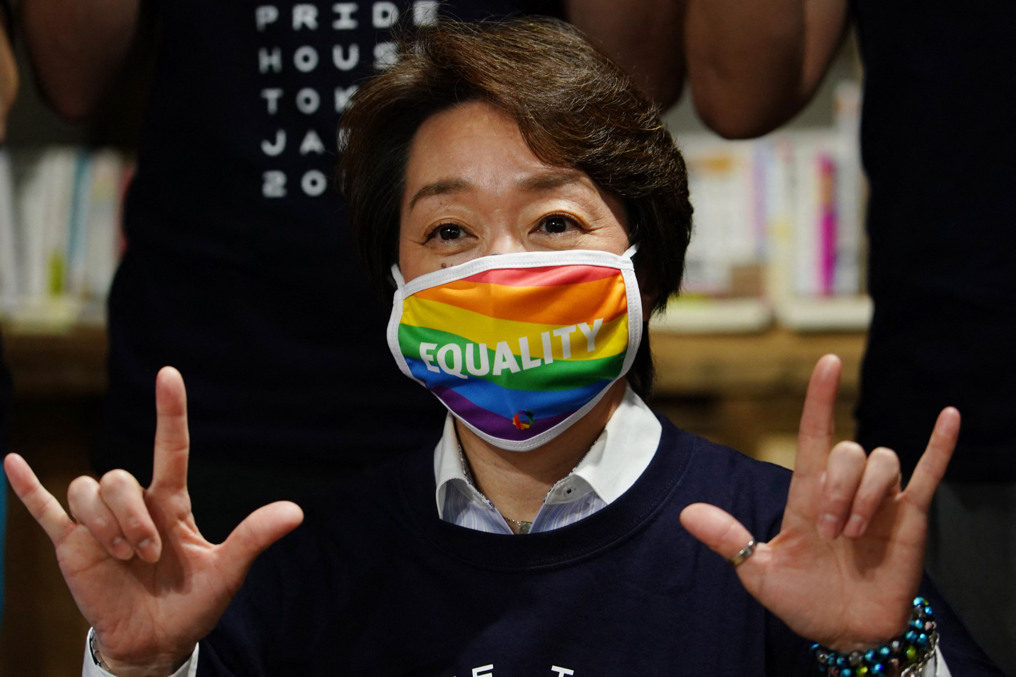 Tokyo 2020 President Seiko Hashimoto visited Pride House Tokyo earlier this year ©Getty Images