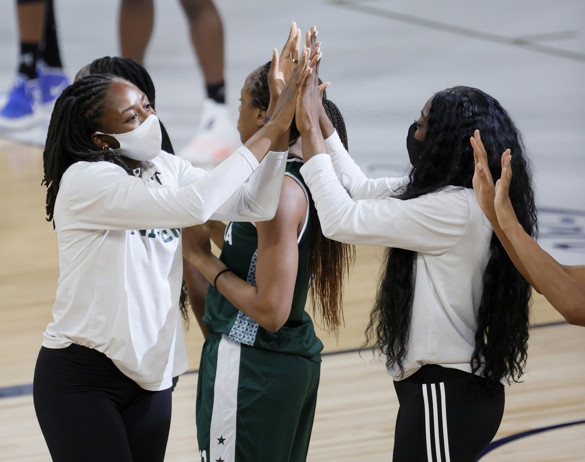 Nneka Ogwumike is introduced for Nigeria before an exhibition game against the US in Las Vegas on Saturday ©Getty Images