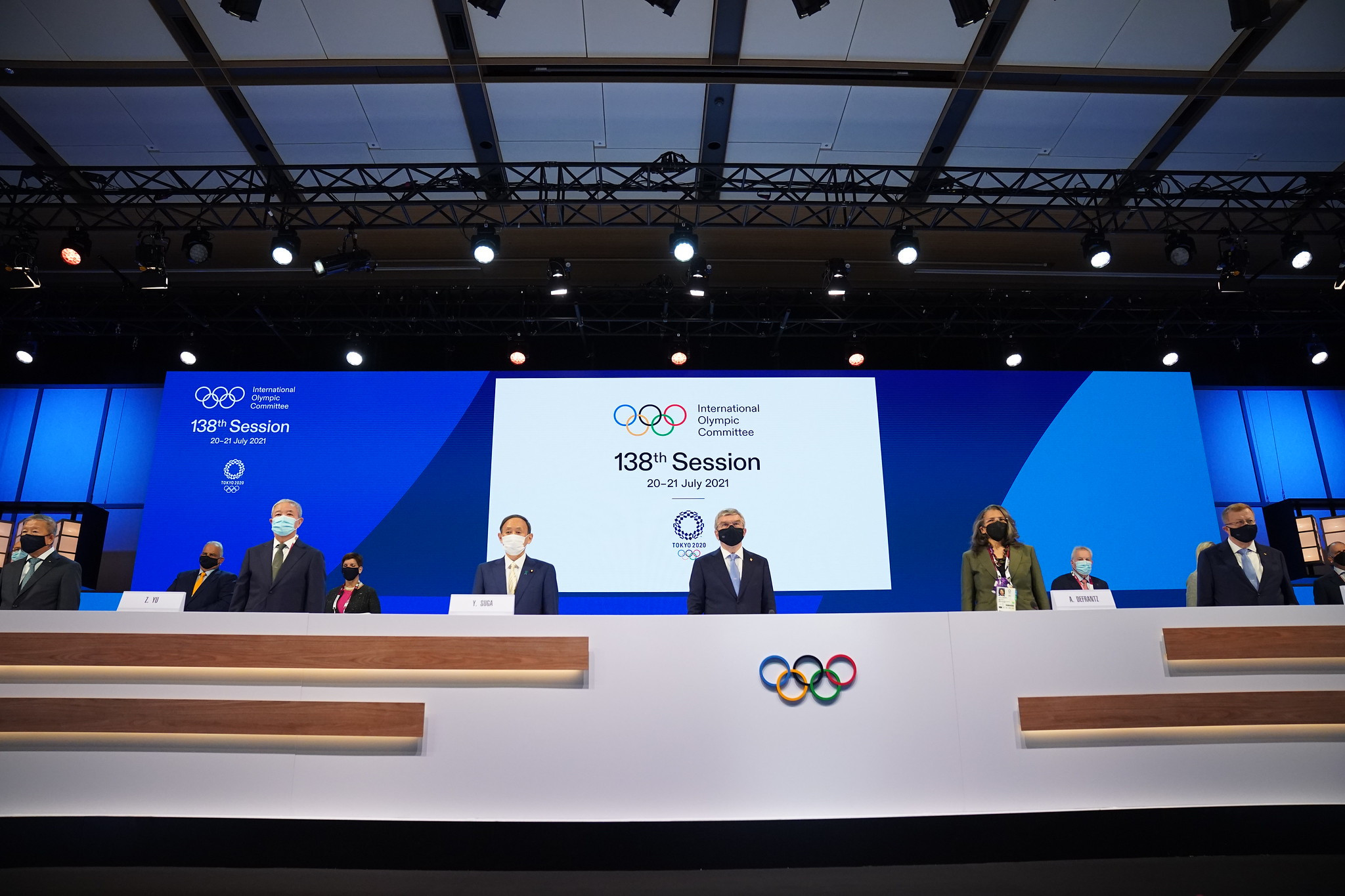Japanese Prime Minister Yoshihide Suga attended the opening of the Session ©IOC