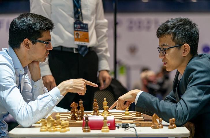 Nodirbek Abdusattorov, right, is ranked 127the in the world ©FIDE/Anastasiia Korolkova