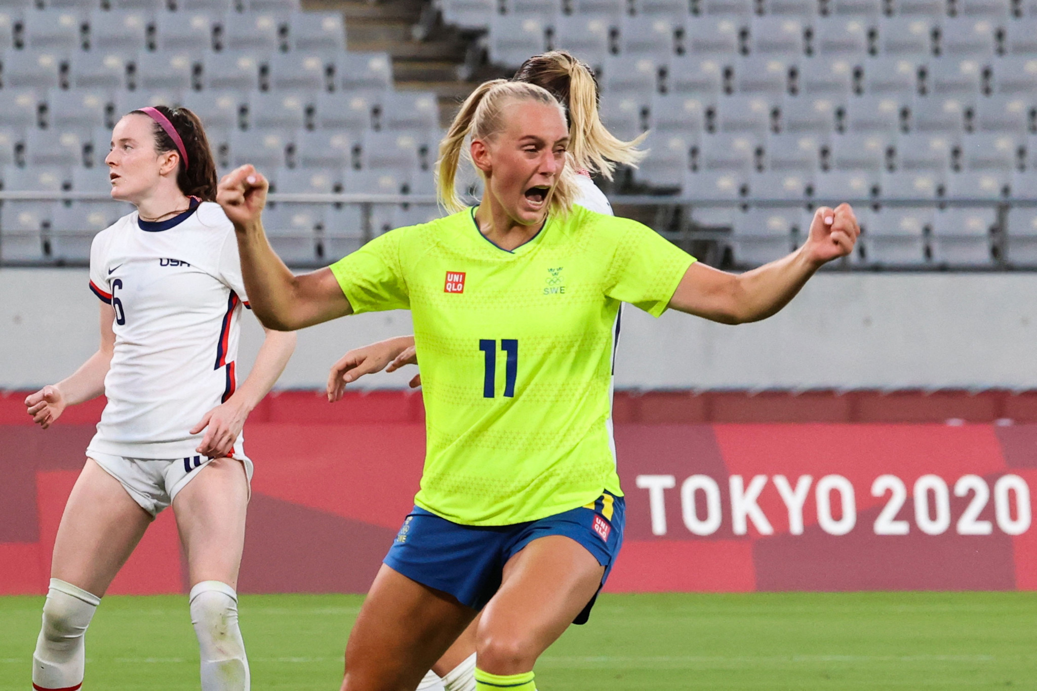 Stina Blackstenius scored twice as Sweden stunned the US ©Getty Images