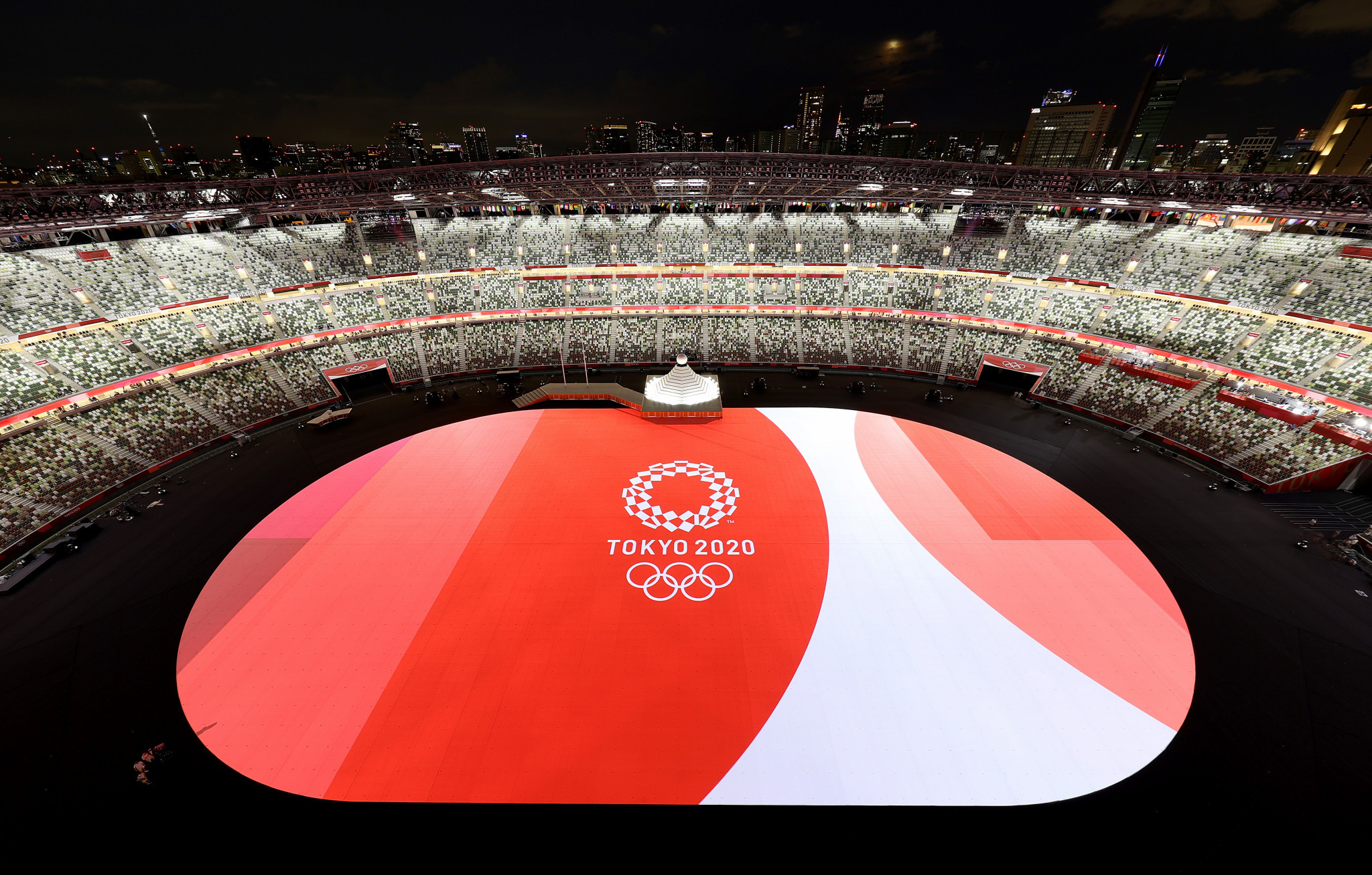 Fans were absent from the Japan National Stadium due to COVID-19 restrictions ©Getty Images