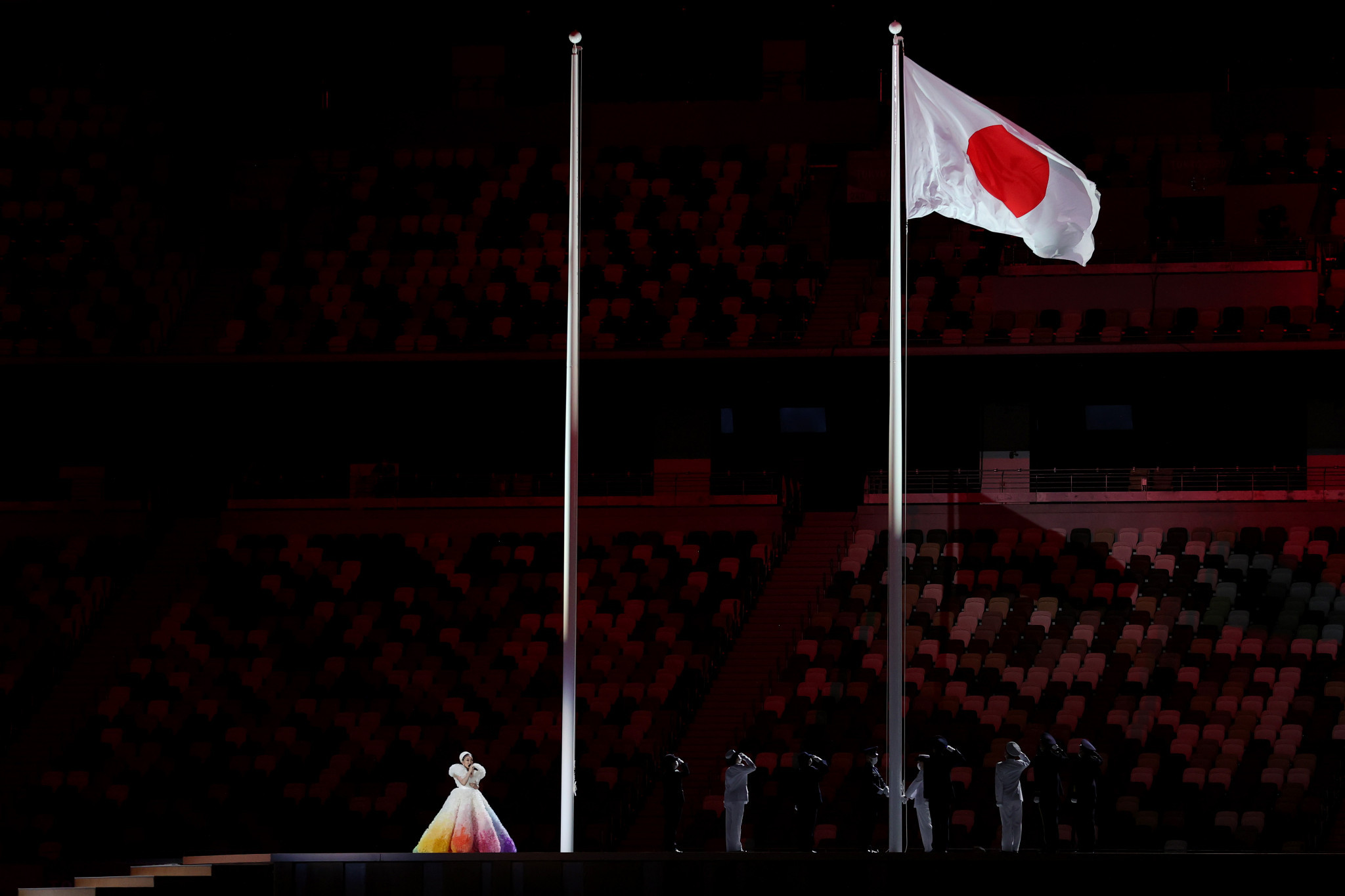 The Opening Ceremony began with a sombre tone ©Getty Images