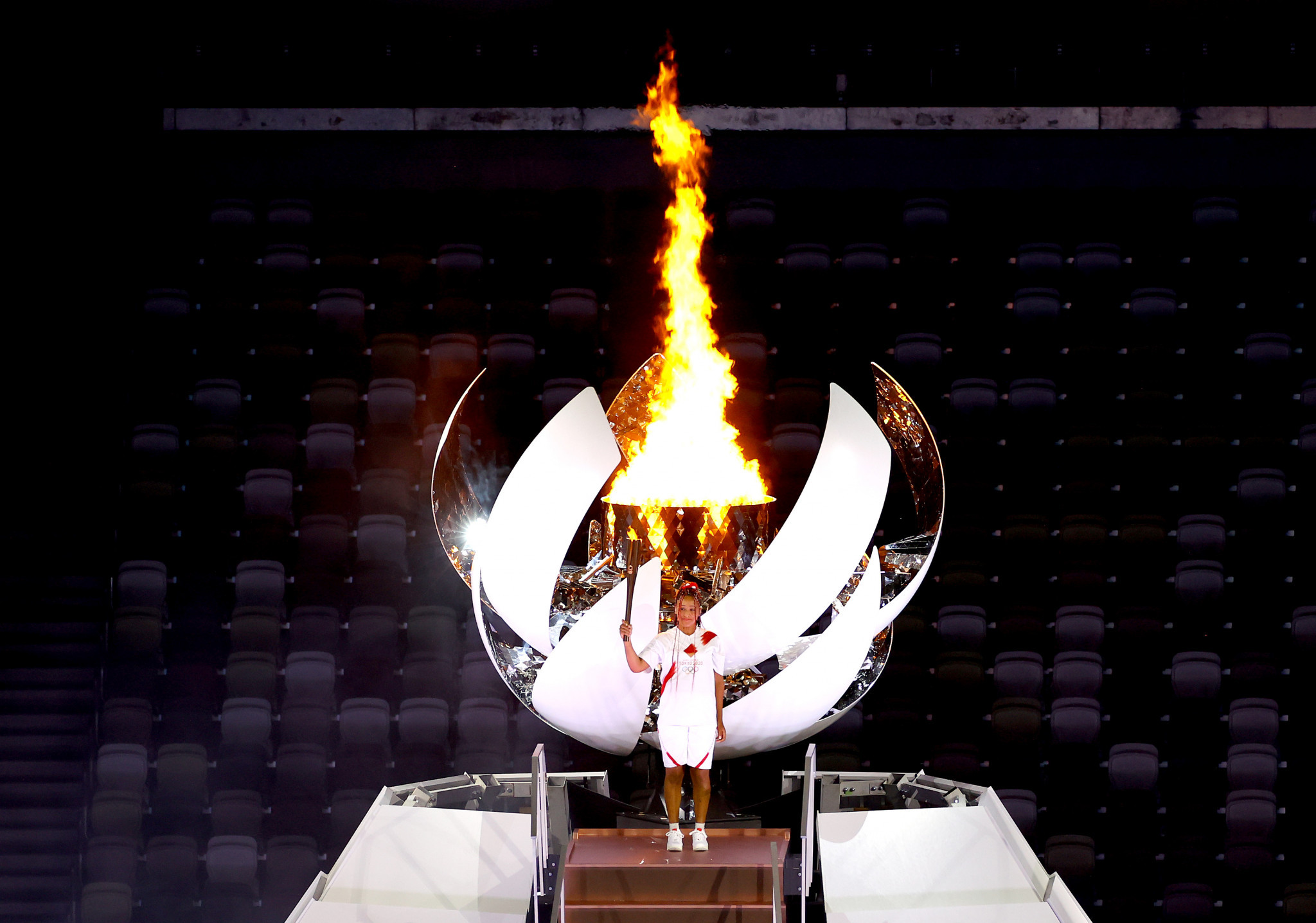 Naomi Osaka lit the Olympic Cauldron as the delayed Tokyo 2020 Olympics began ©Getty Images
