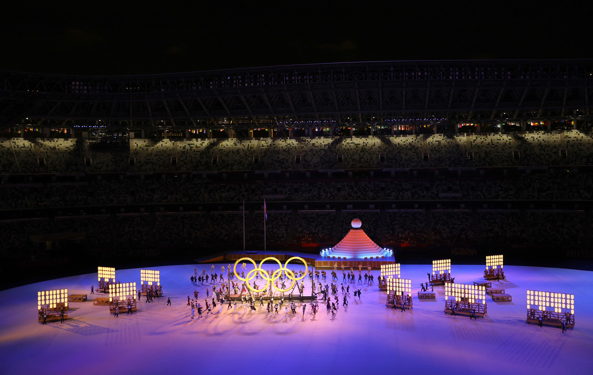 The Olympic Rings were formed in preparation for the Parade of Nations ©Getty Images