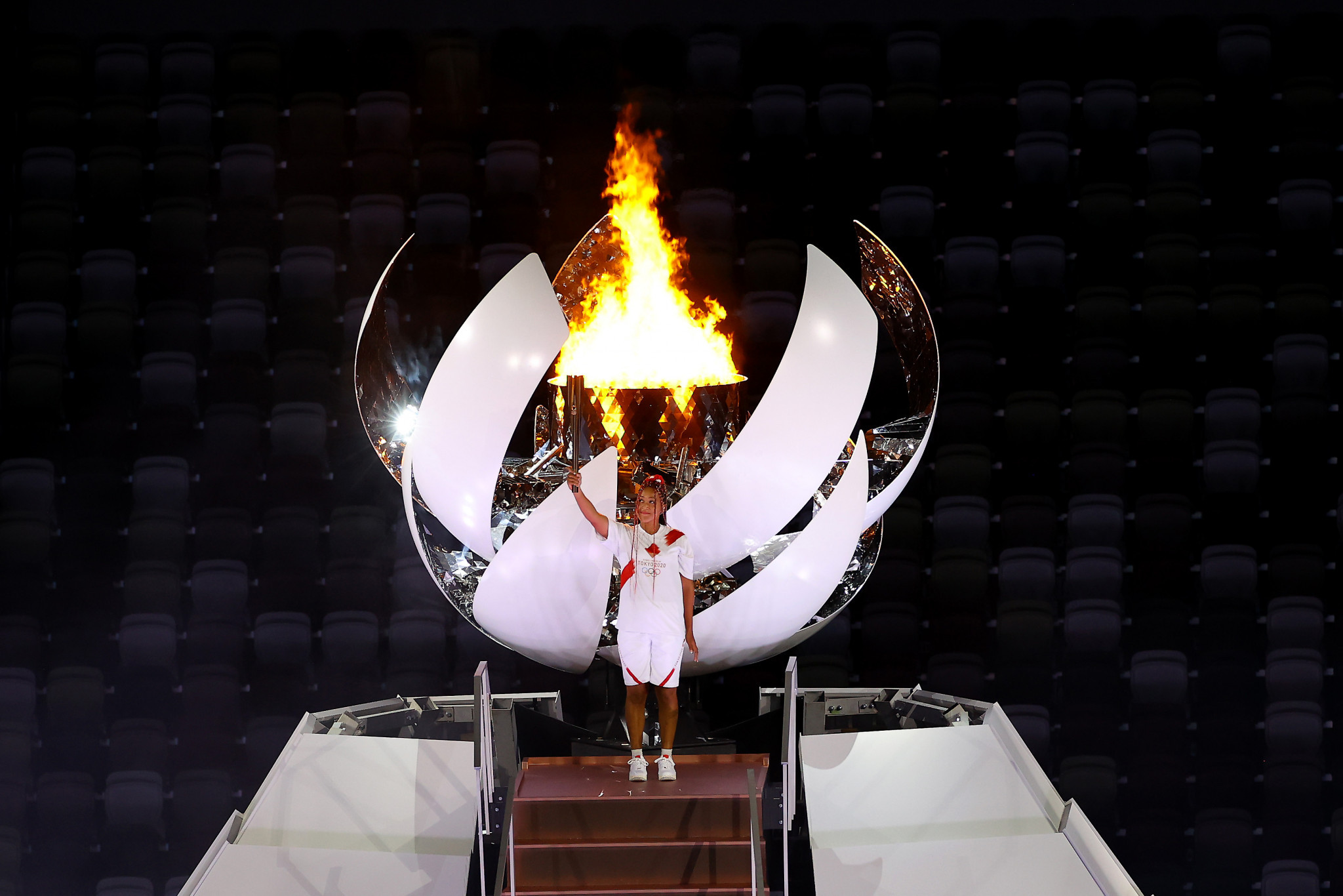 Japanese tennis star Naomi Osaka had the honour of lighting the Olympic Flame during the Tokyo 2020 Opening Ceremony ©Getty Images