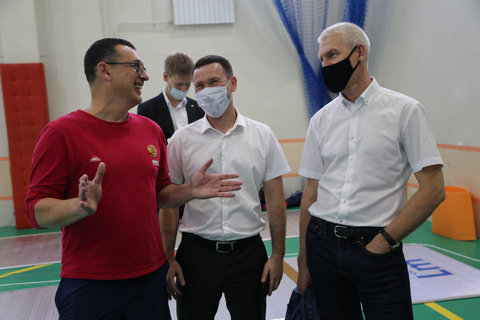 Russian Sports Minister Oleg Matytsin, right, during a visit to his country's training camps in the Far East ©Georgy Bryusov