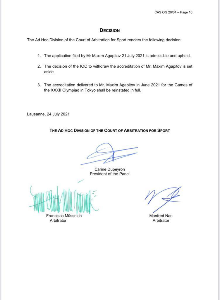 The Court of Arbitration for Sport (CAS) ruled in favour of Maxim Agapitov, who has had his accreditation reinstated ©Maxim Agapitov