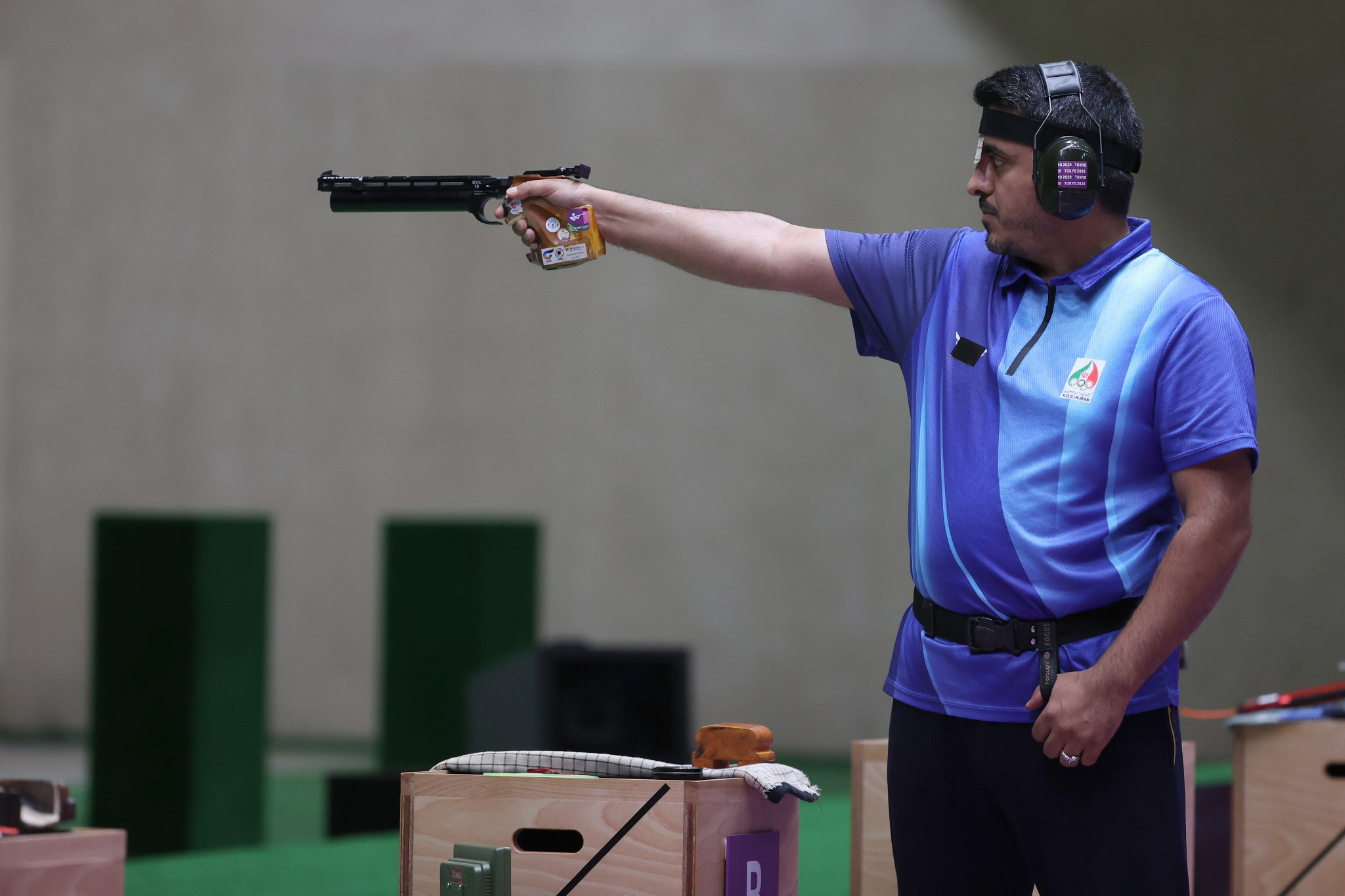 COVID-19 nurse Javad Foroughi won pistol gold for Iran ©Getty Images